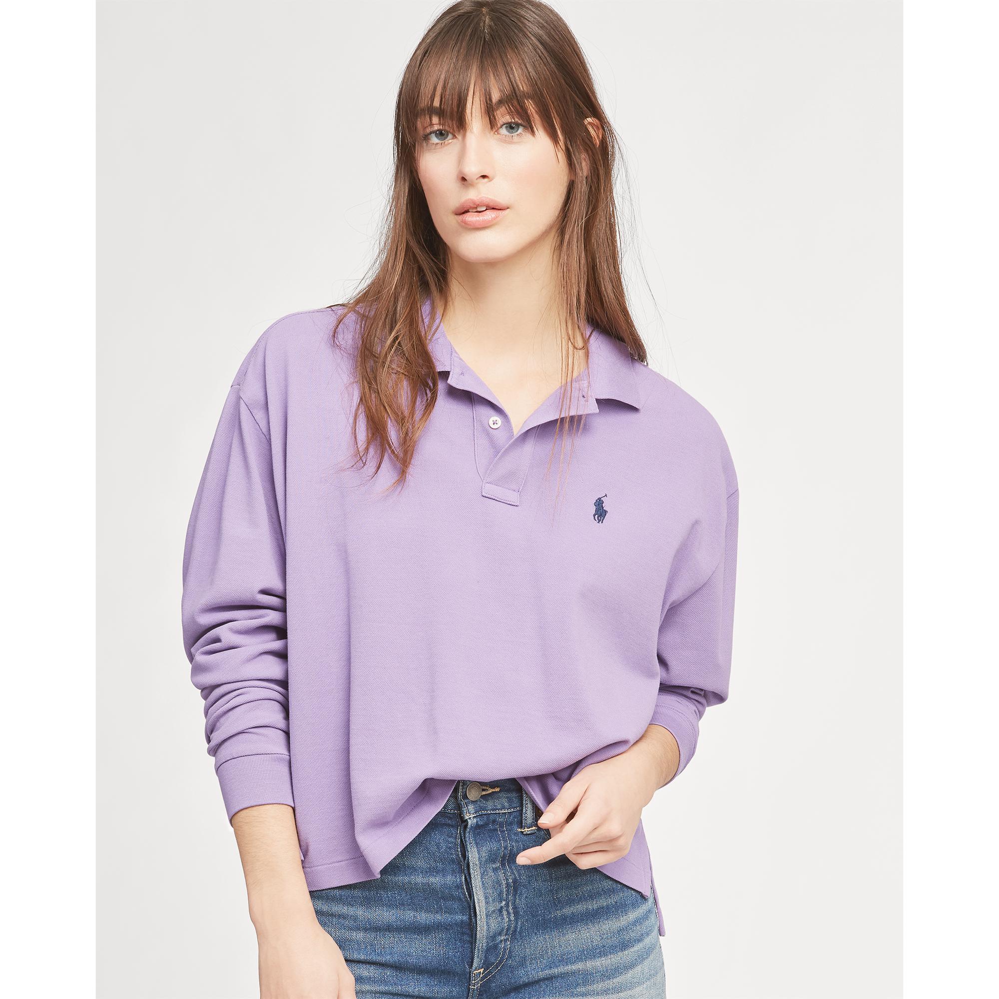 4357e60108f02 Lyst - Polo Ralph Lauren Cropped Mesh Polo Shirt in Purple