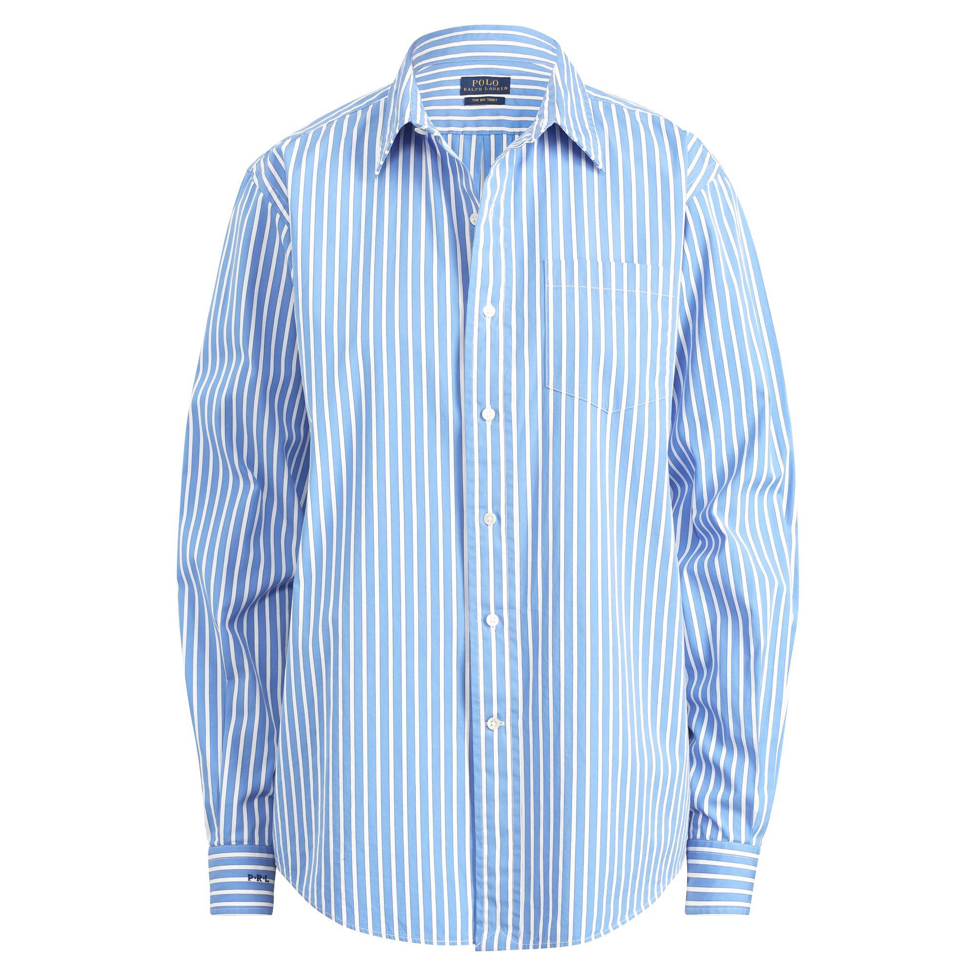 5f0db94e6 Polo Ralph Lauren Big Fit Striped Cotton Shirt in Blue - Lyst
