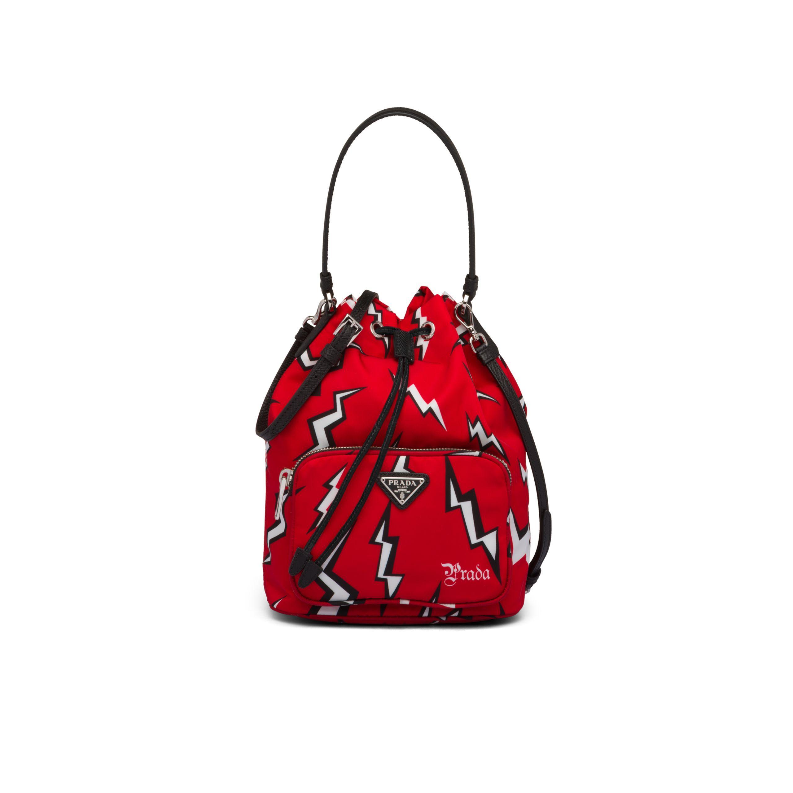 0ffcb18299 Prada Printed Nylon Shoulder Bag in Red - Lyst