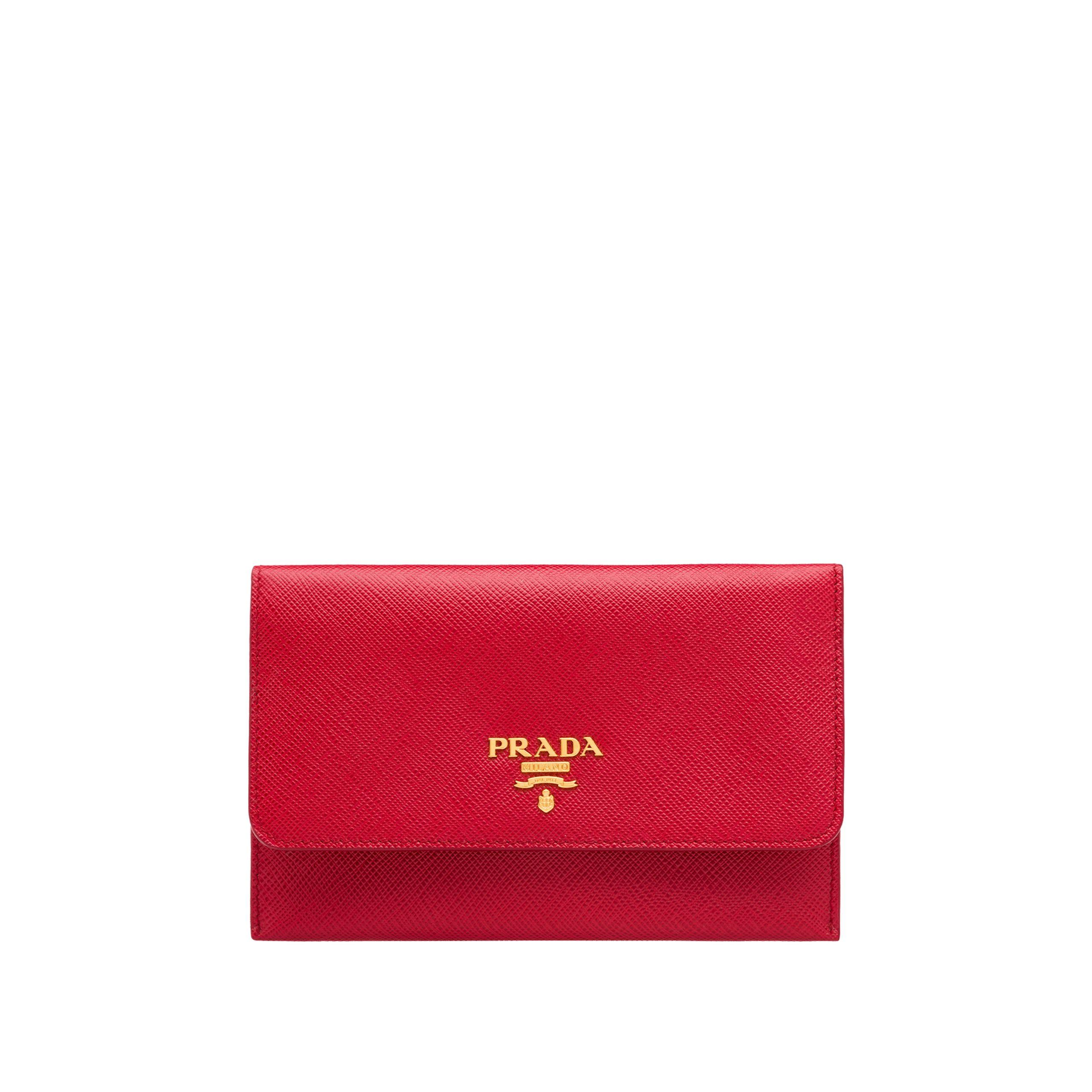 e03f2f458ba55b Lyst - Prada Leather Card Holder in Red