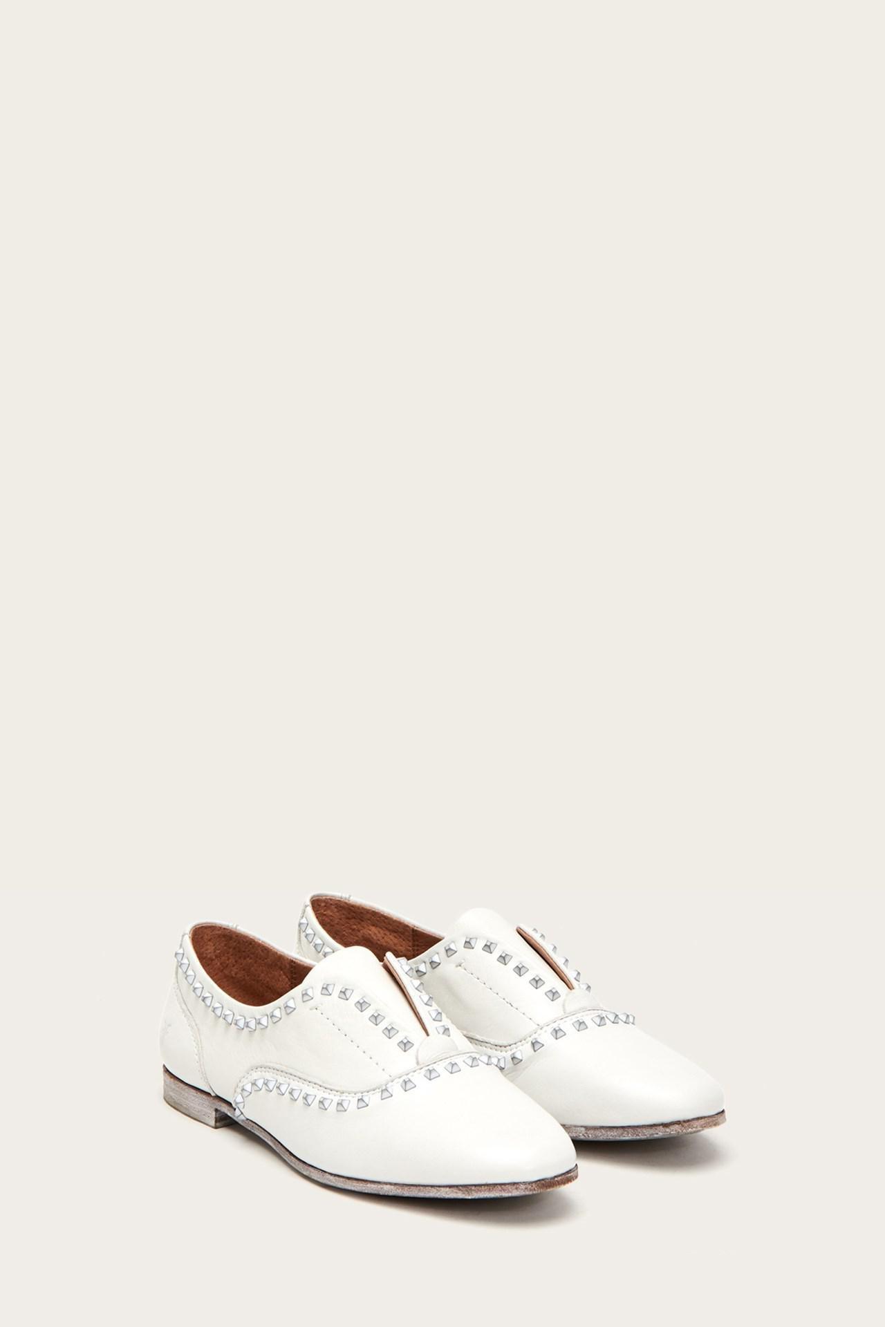 ca9f10175a6 Lyst - Frye Terri Deco Stud Slip On in White