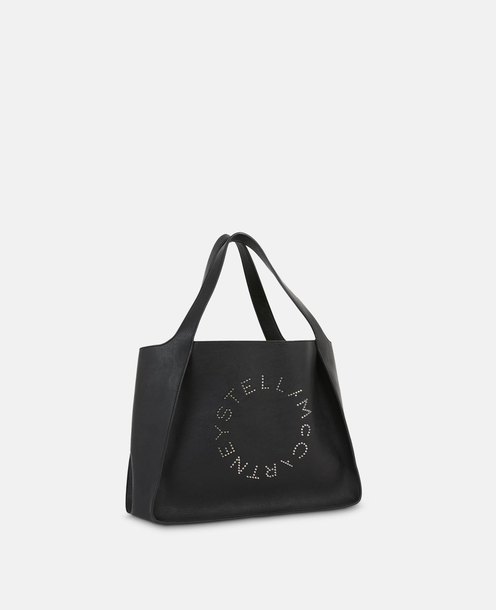 90b30d180797 Lyst - Stella McCartney Stella Studded Logo Tote Bag in Black - Save 33%