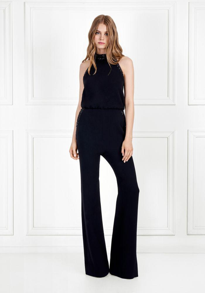 91f238a504 Lyst - Rachel Zoe Lou Sequin Embellished Stretch Crepe Jumpsuit in Black