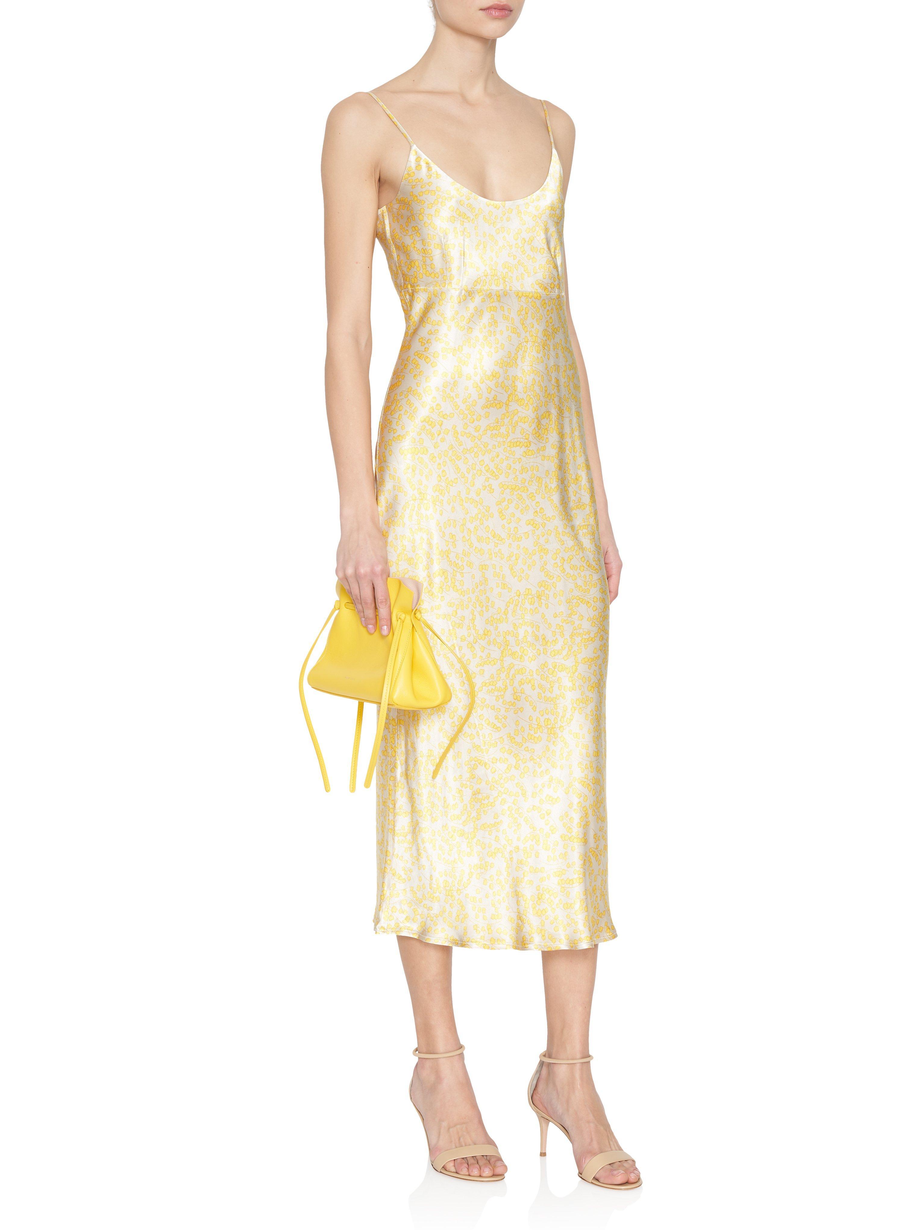 f8b6d17cb7ff Lyst - Ganni Heavy Satin Slip Dress in Yellow