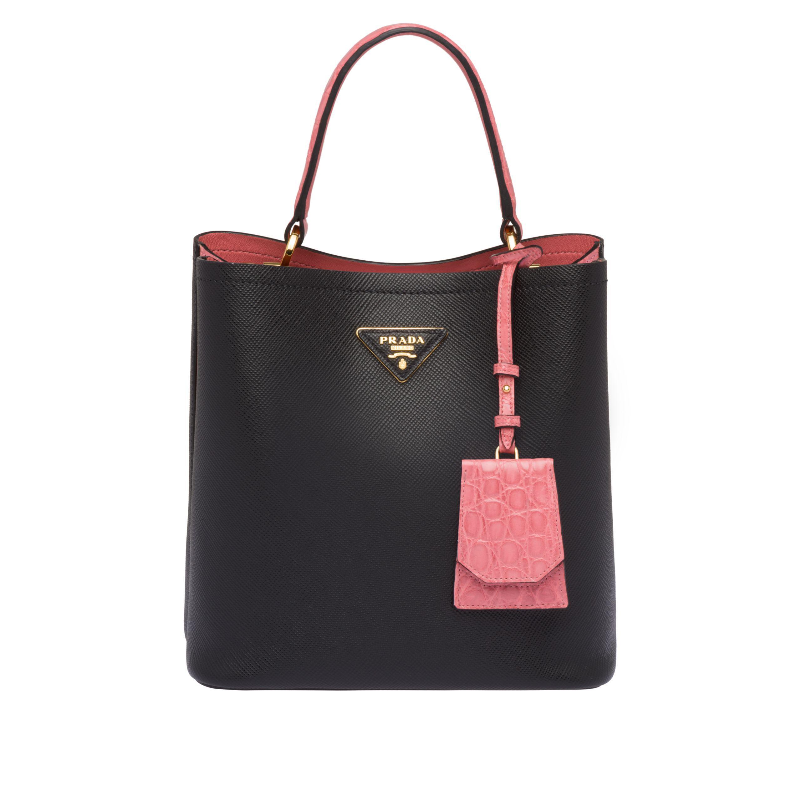 067e23437f0 Prada - Black Double Saffiano Leather Bag - Lyst. View fullscreen