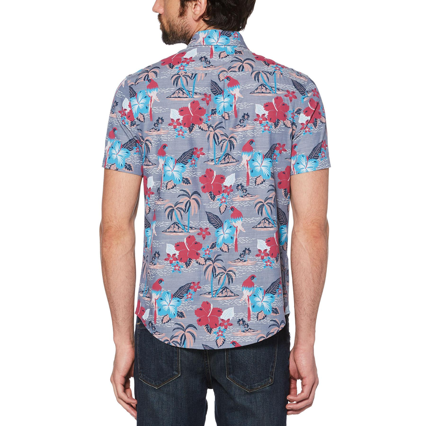 e08ac77a Original Penguin - Blue Floral Island Print Chambray Shirt for Men - Lyst.  View fullscreen