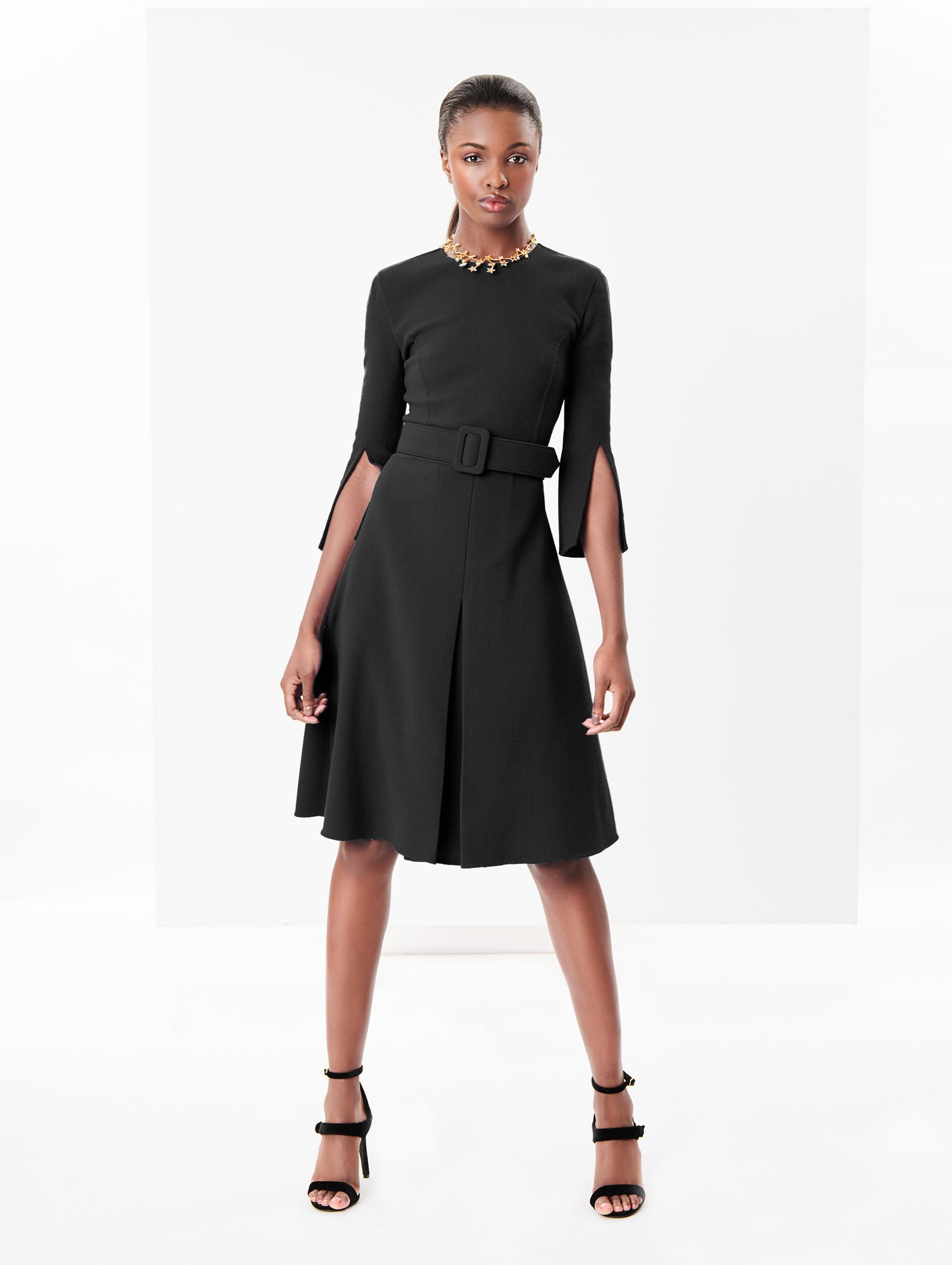 5c8608b35b Oscar De La Renta Stretch-wool Crepe Split-sleeve Dress in Black - Lyst