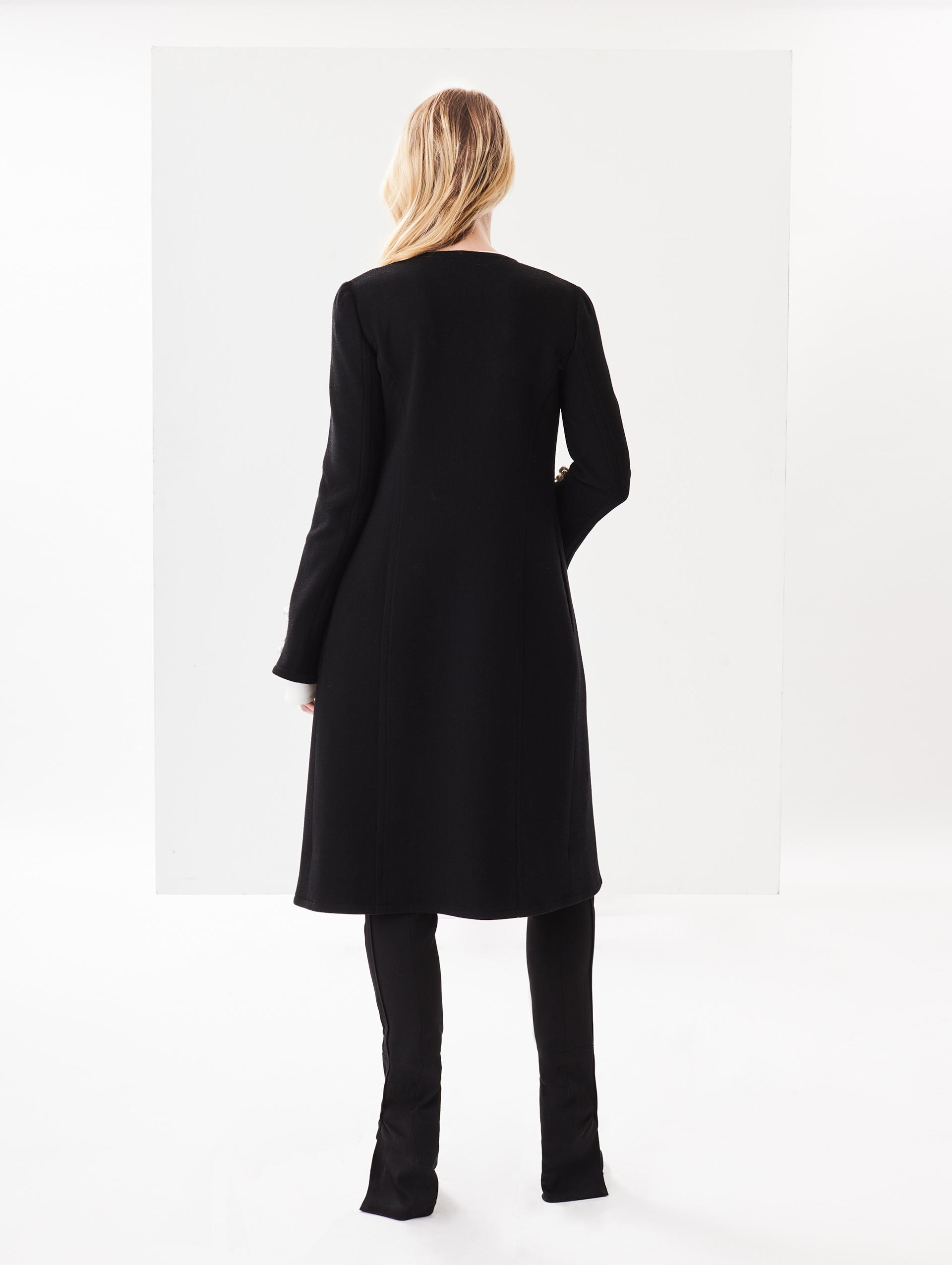 Stretch Embroidered Pearl Wool Crepe Renta De In La Lyst Black Coat Oscar 4wUgqxf