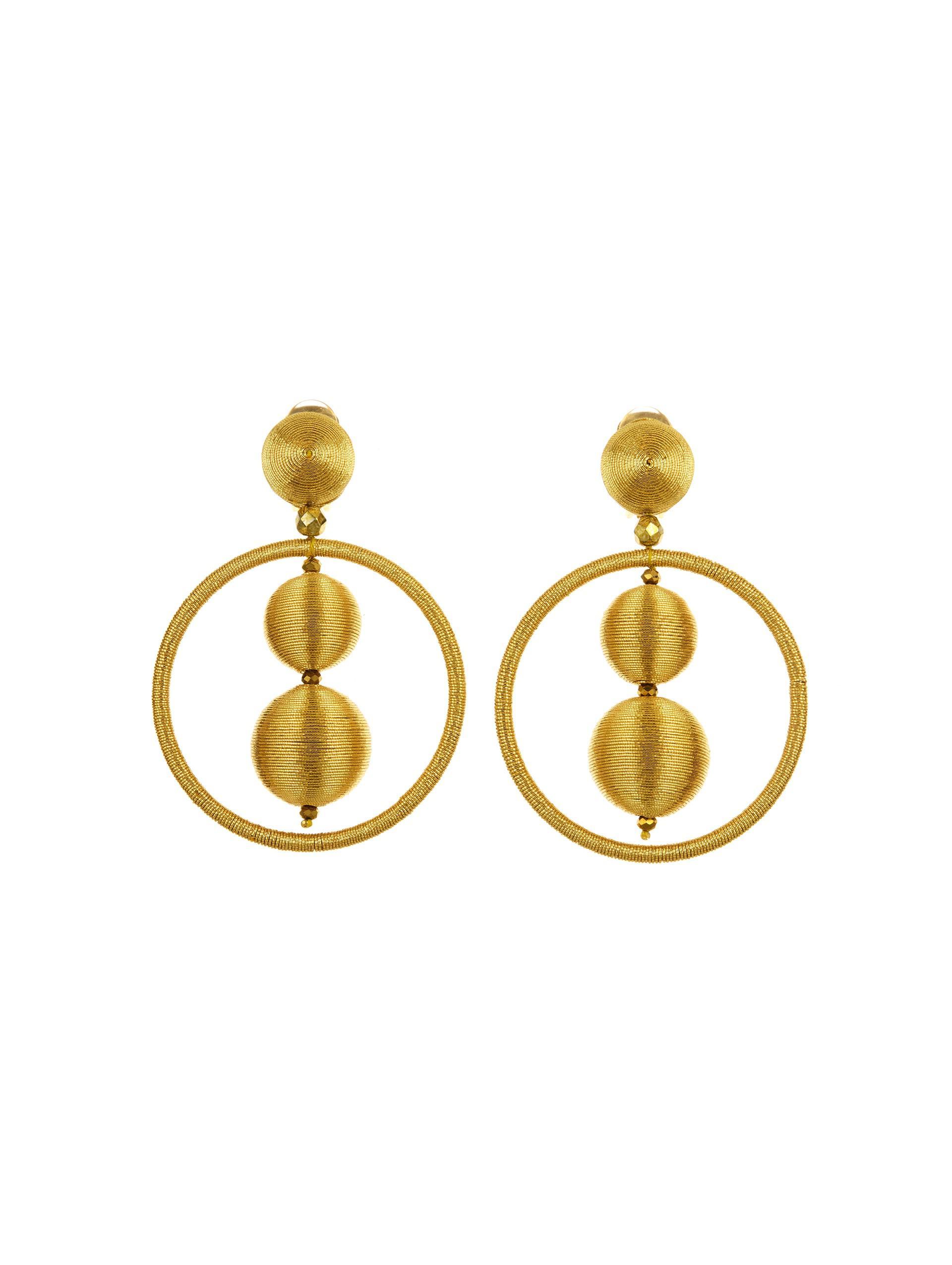 Oscar De La Renta Threaded Bead Hoop Earrings rupMqL