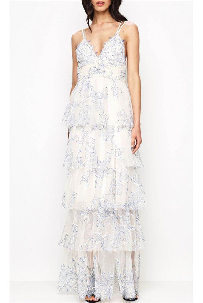 Lyst Alice Mccall Love Is Love Gown Creme And Cobalt In Blue