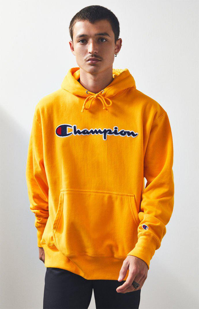b85425d17cd67 Lyst - Champion Reverse Weave Chenille Script Pullover Hoodie in ...