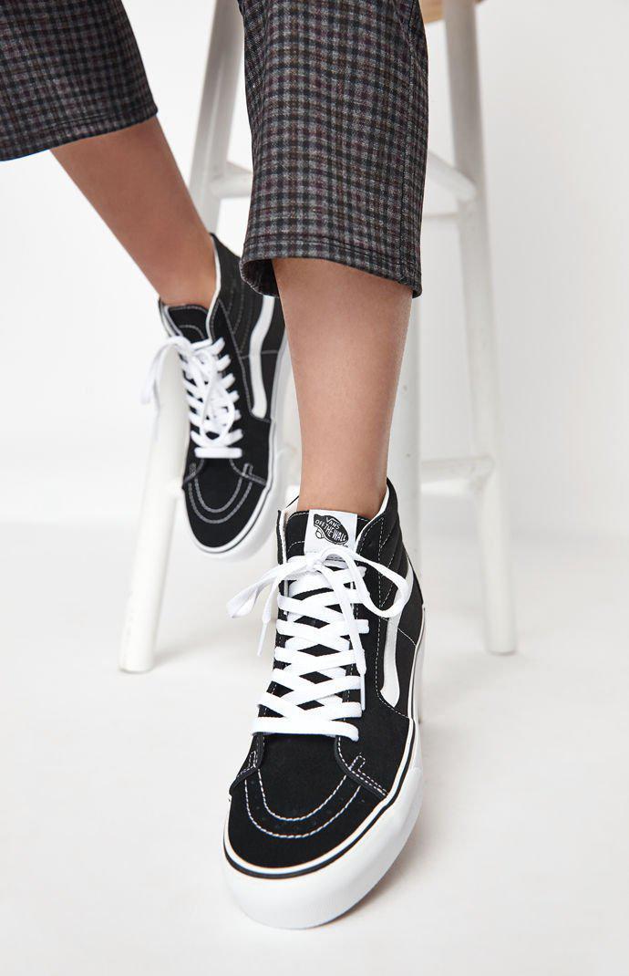 Lyst - Vans Women s Black   White Sk8-hi Platform Sneakers in White a09d0e4b2a