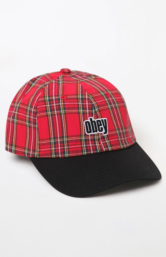 9650d65104c Obey - Red Dayton Plaid Strapback Dad Hat for Men - Lyst. View fullscreen