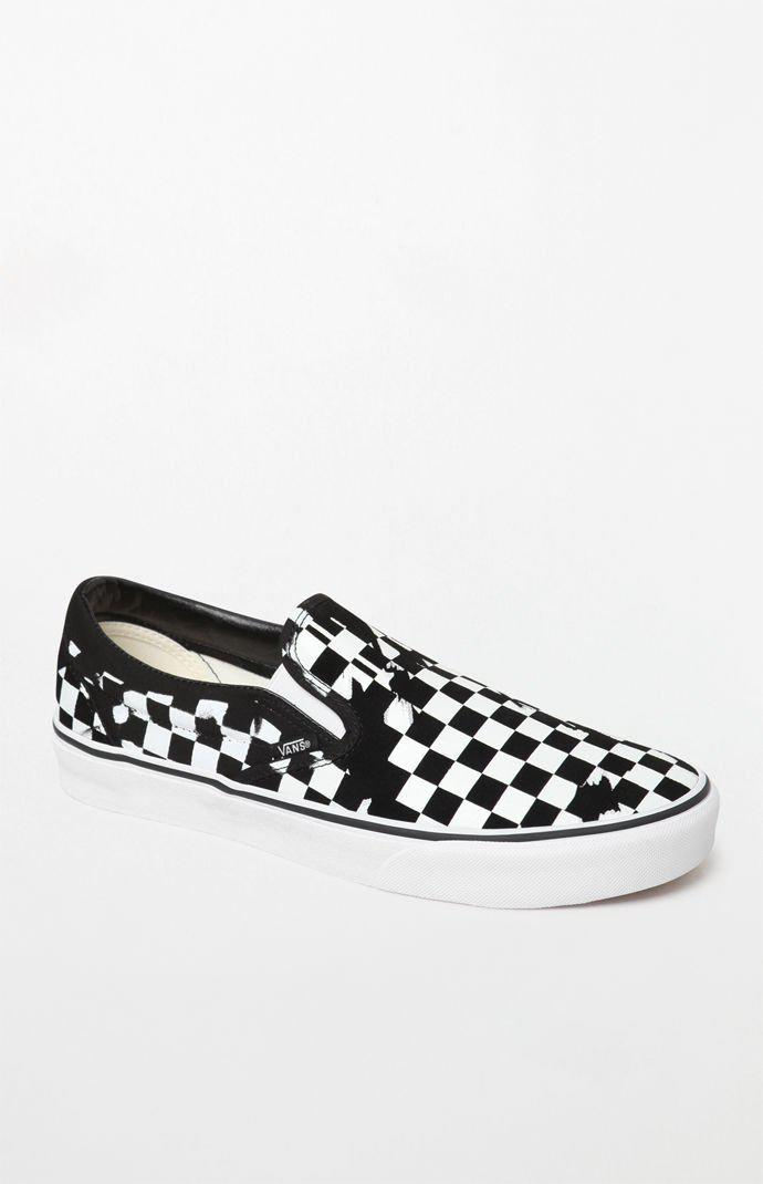 Lyst - Vans Overprint Checker Slip-on Shoes in Black for Men - Save 30% 1eb3677747c3
