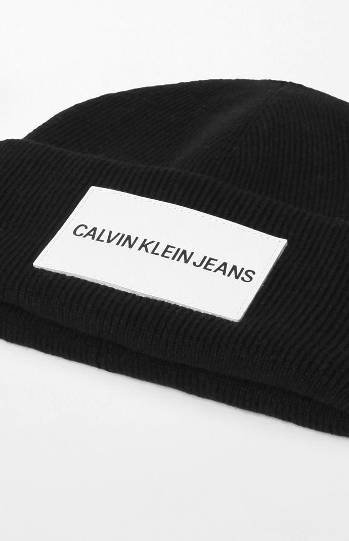 Lyst - Calvin Klein Leather Patch Beanie in Black 9cec8eb8619a