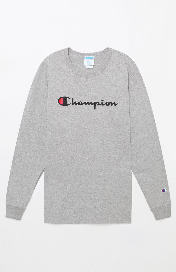 b6cafa63 Champion - Gray Heritage Script Long Sleeve T-shirt for Men - Lyst. View  fullscreen