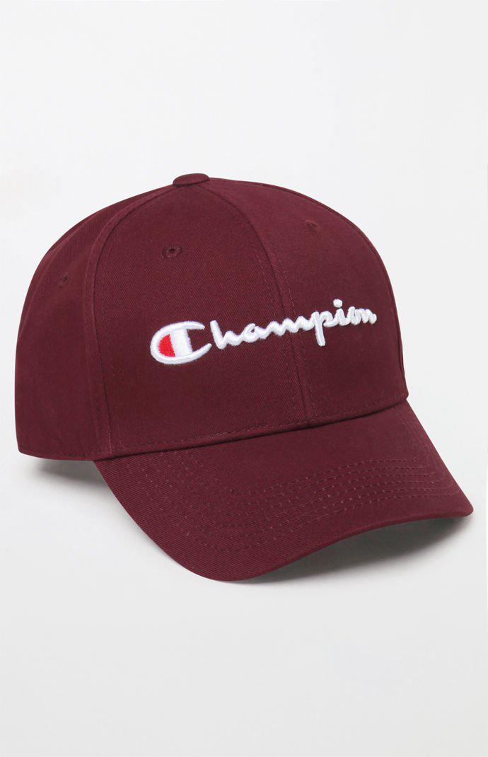 8e90d398b44 Champion - Red Classic Twill Strapback Dad Hat for Men - Lyst. View  fullscreen