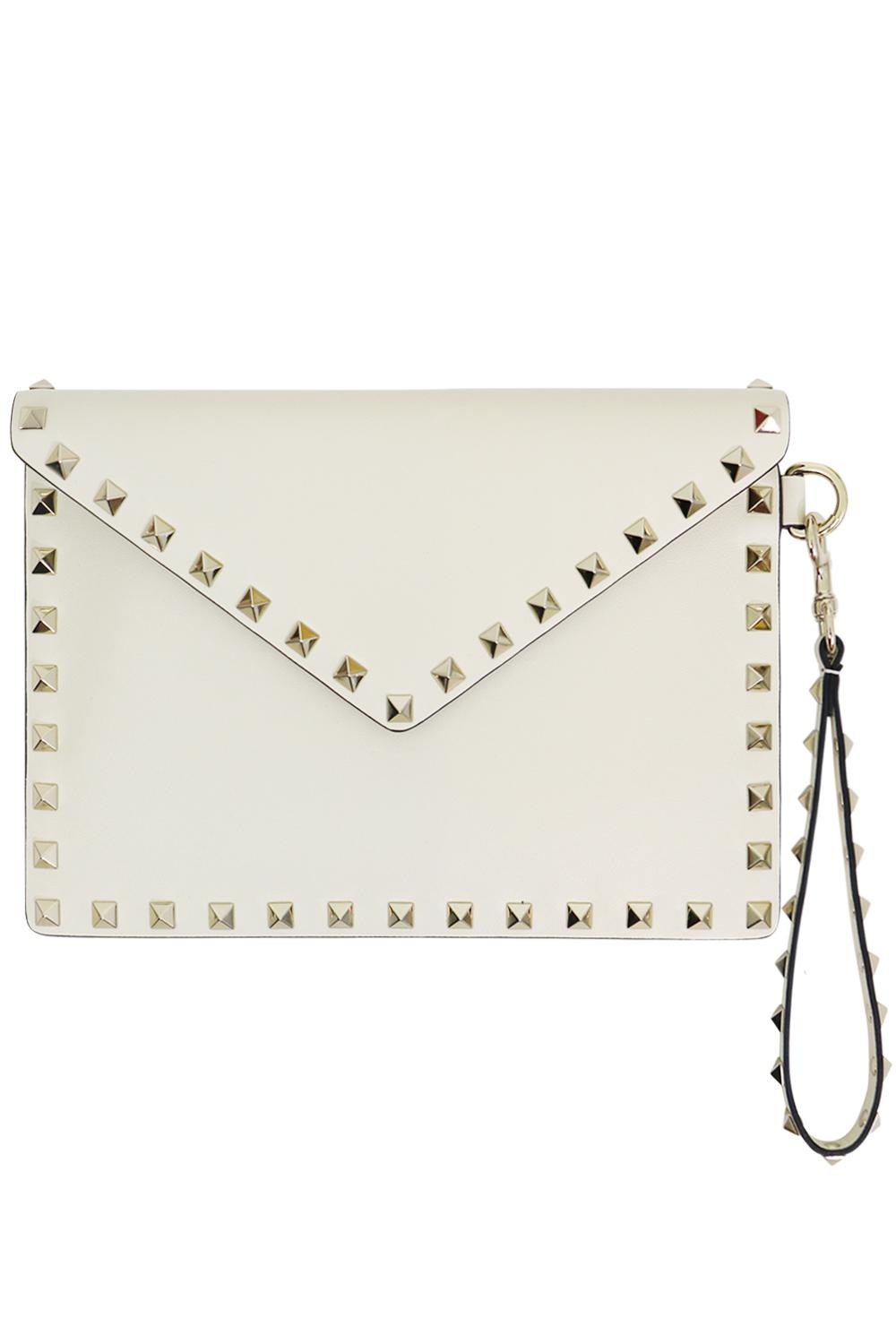 0050c66ed8 Valentino. Women's White Small Rockstud Envelope Pouch Smooth Leather Light  Ivory