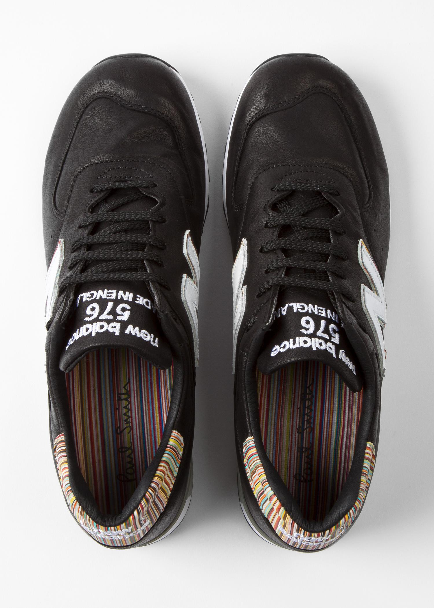 brand new 08c09 9d926 Paul Smith New Balance - Black Leather 576 Trainers in Black for Men ...