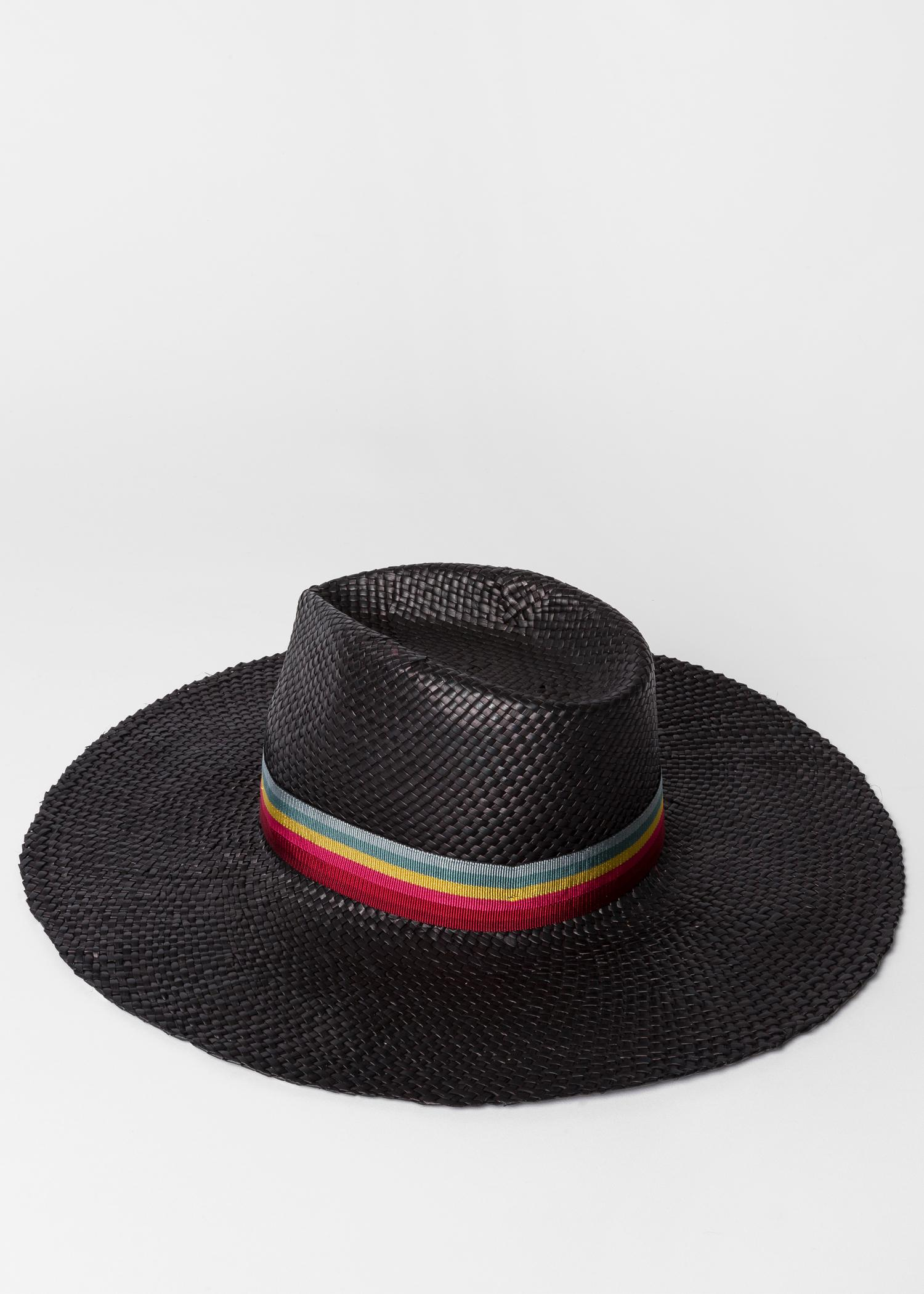 39f42d45 Paul Smith - Black Woven Fedora Hat With 'swirl-stripe' Band - Lyst. View  fullscreen