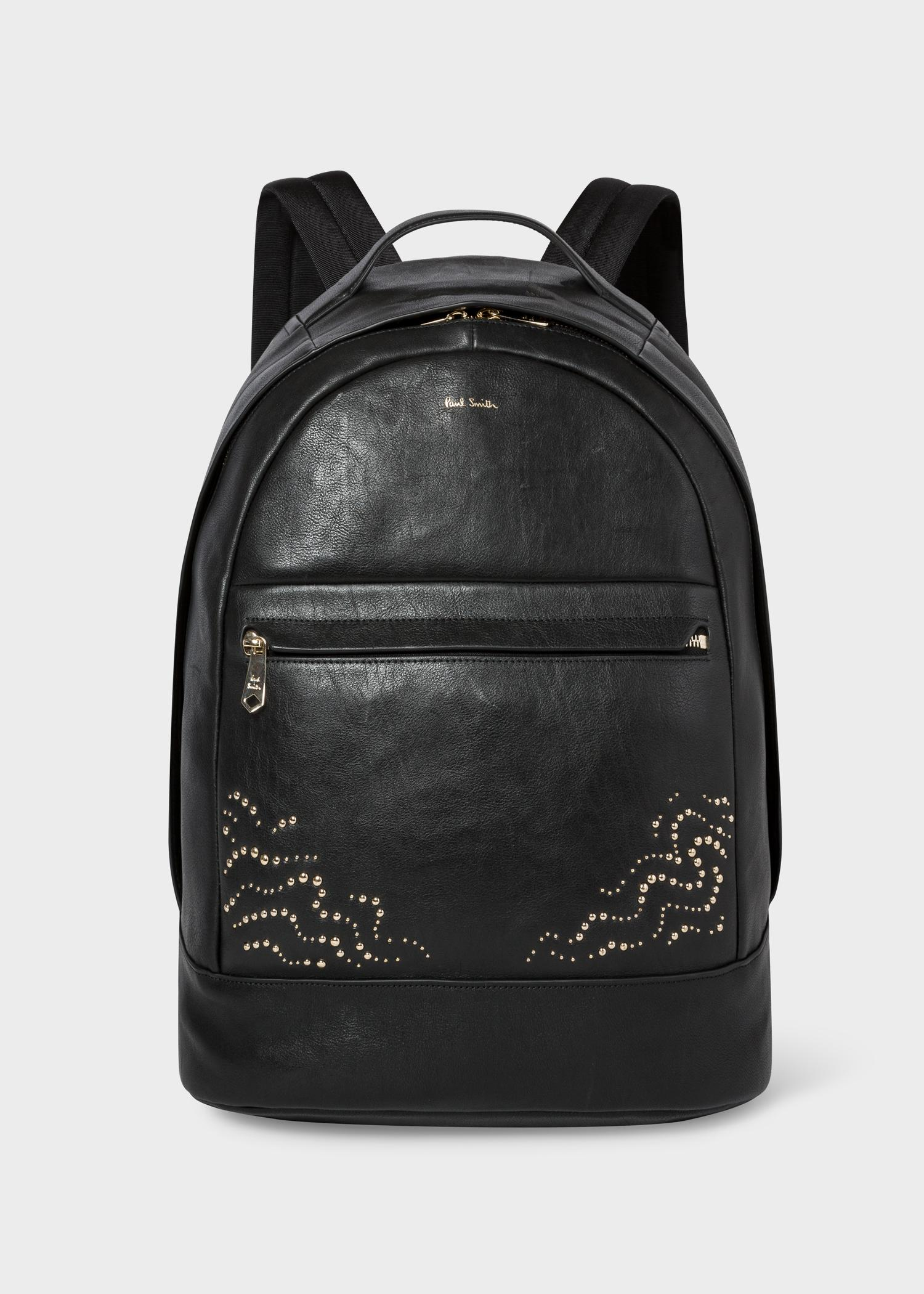 Paul Smith Black Leather Backpack With  Dreamer  Stud Detail in ... 06f163400