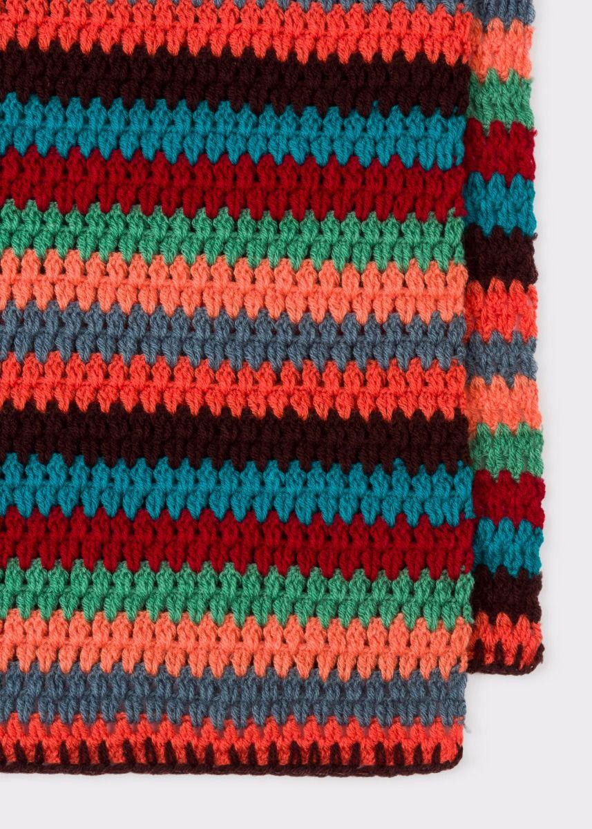 Paul Smith Mens Multi Coloured Stripe Crochet Scarf For Men Lyst