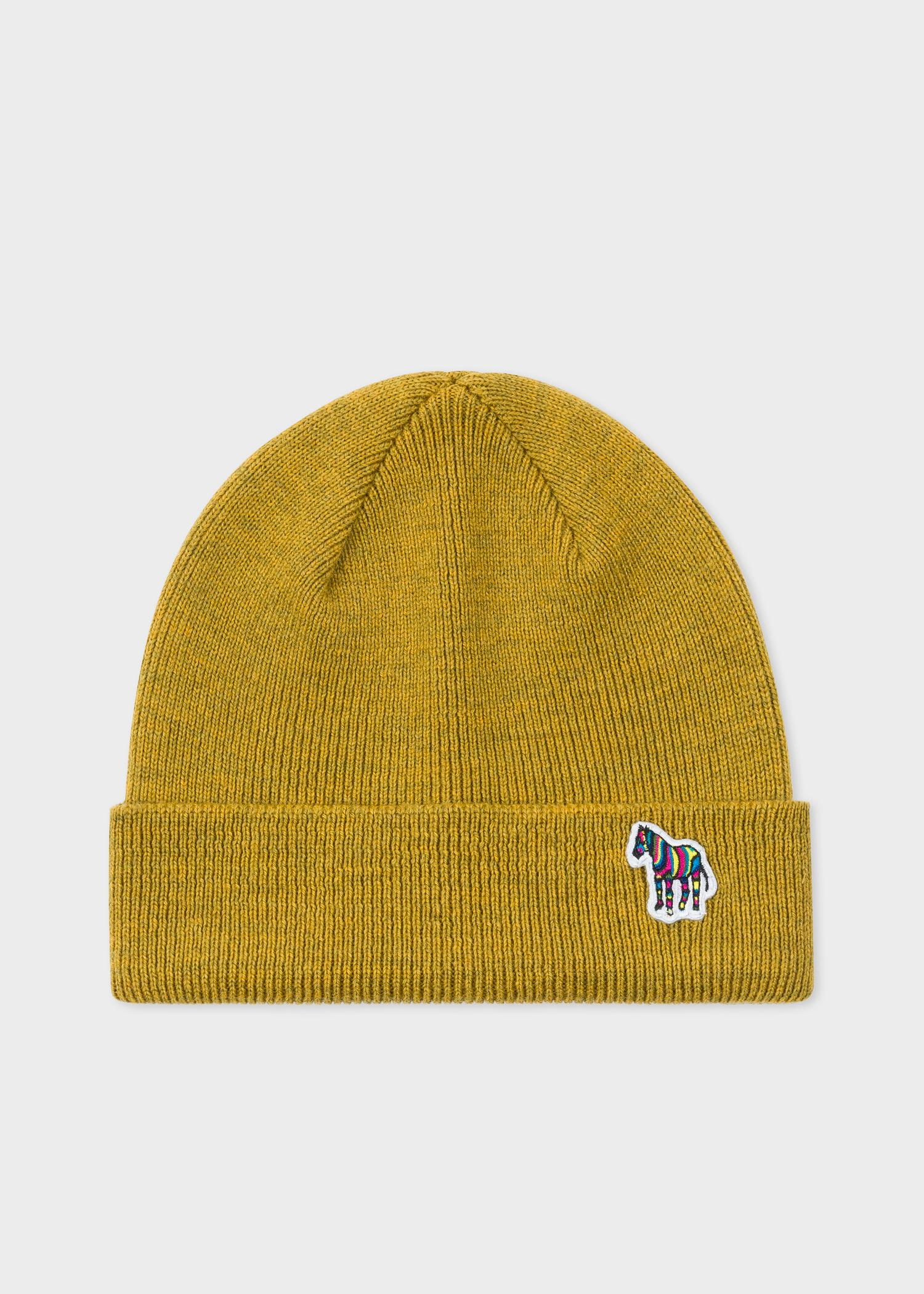 80450d5f173ad Paul Smith. Men s Yellow Mustard  zebra  Logo Ribbed Lambswool Beanie Hat