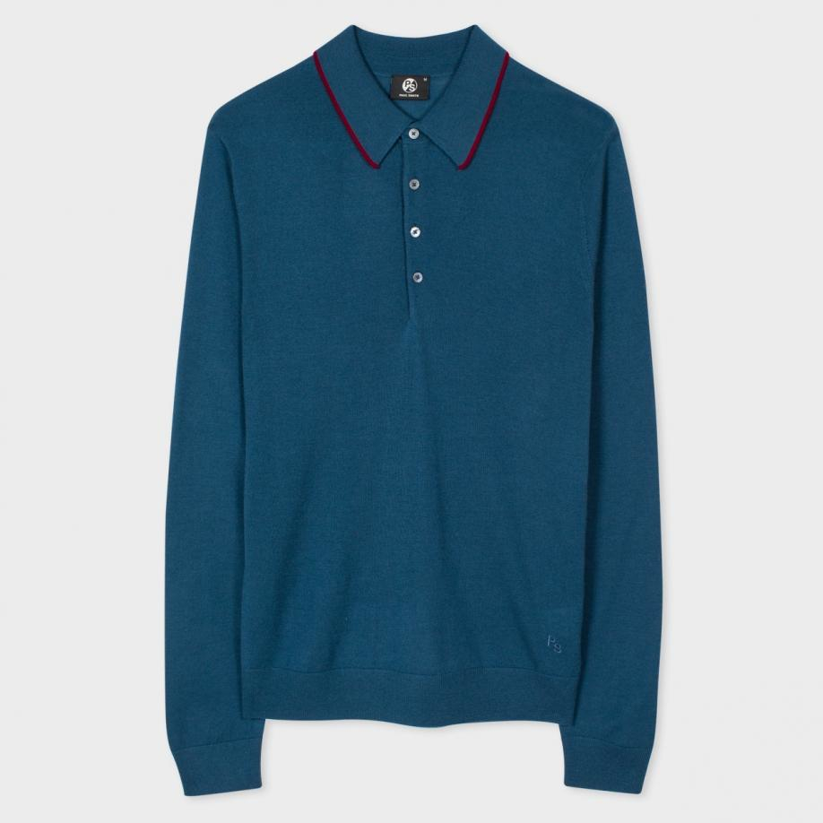 Paul smith men 39 s petrol blue merino wool long sleeve polo for Long sleeve wool polo shirts
