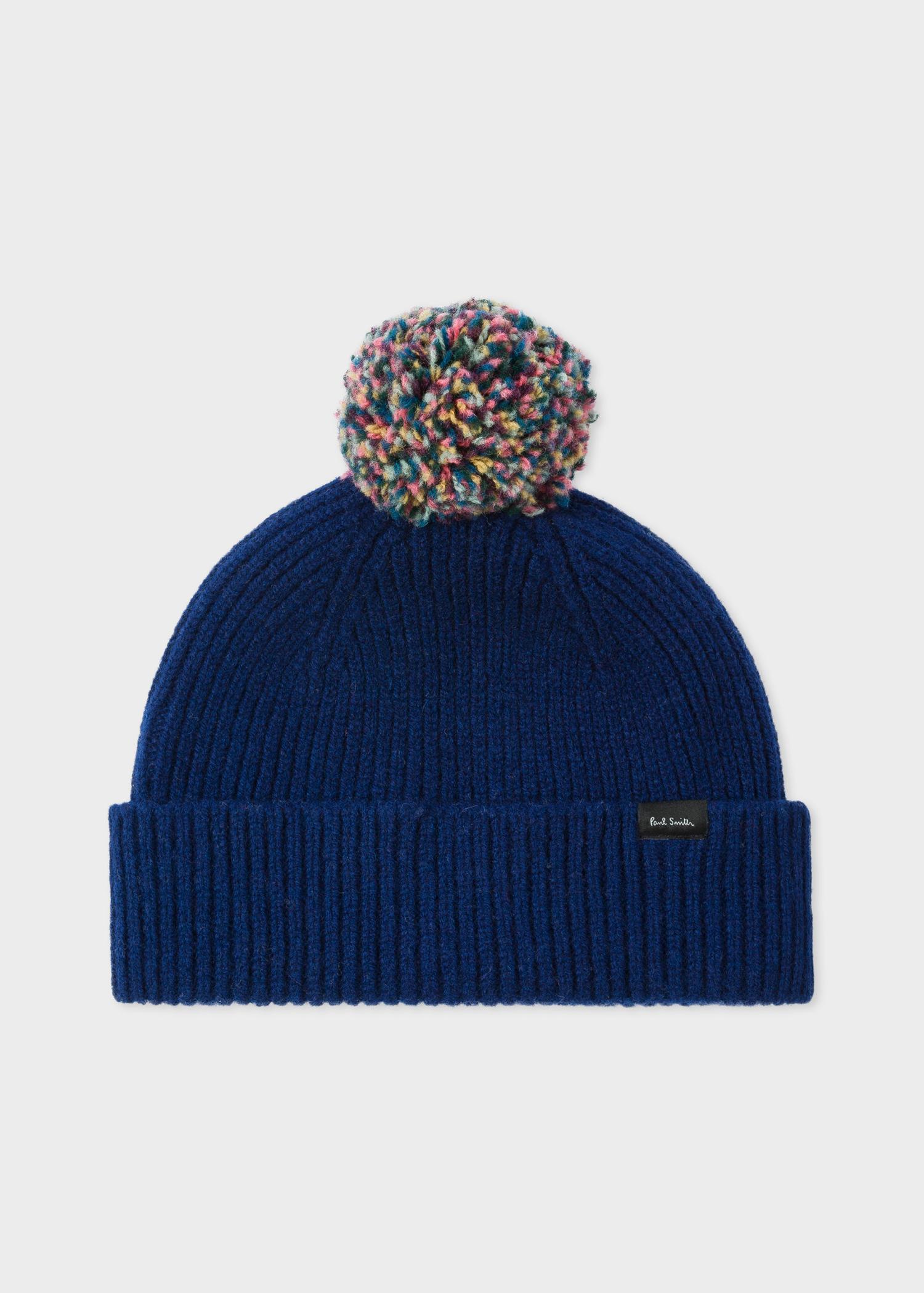 5739267e99c Paul Smith - Blue Navy Pom-Pom Wool Beanie Hat for Men - Lyst. View  fullscreen