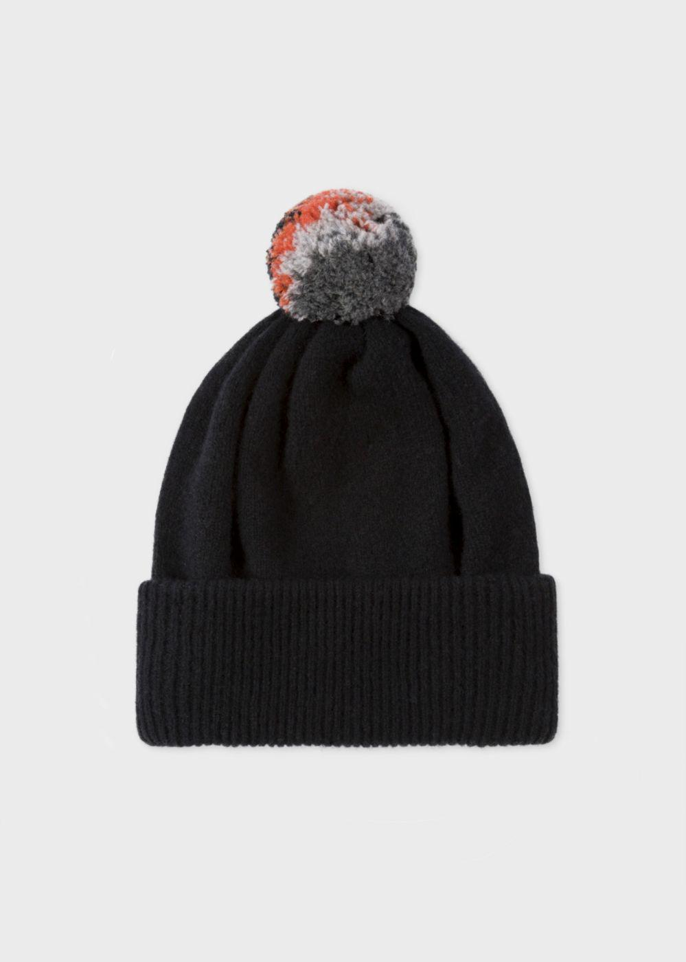 05002f494507d Lyst - Paul Smith Men s Black Lambswool Knitted Bobble Hat in Black ...