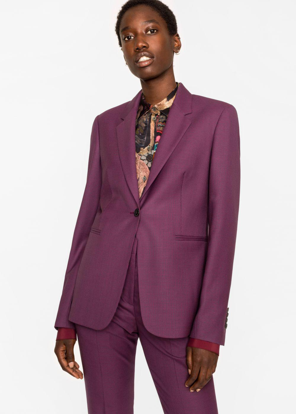 Lyst Paul Smith A Suit To Travel In Women S Burgundy Puppytooth