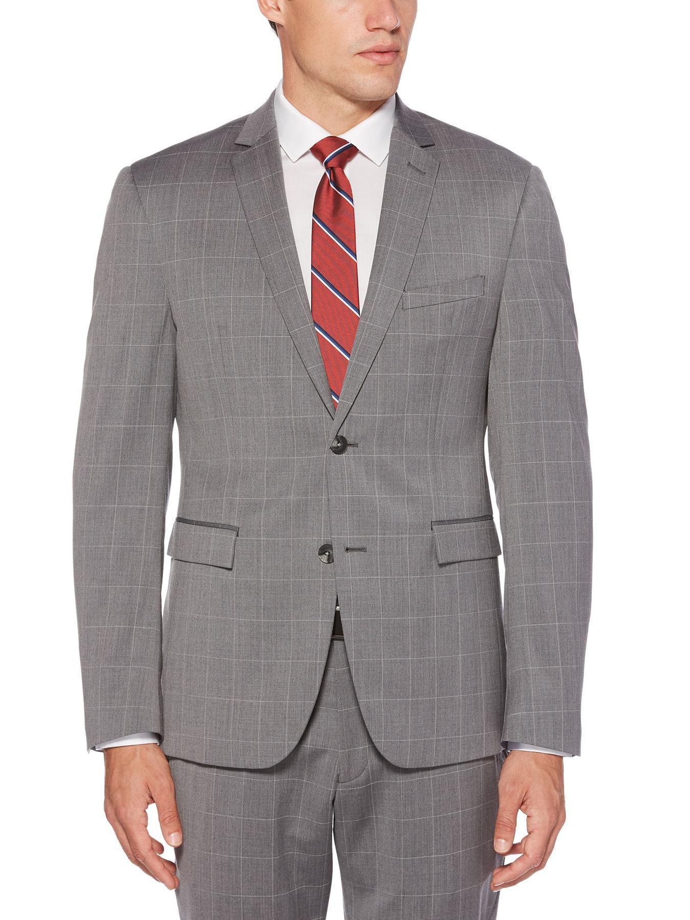 9fd7b7ab86 Lyst - Perry Ellis Slim Windowpane Suit Jacket in Gray for Men