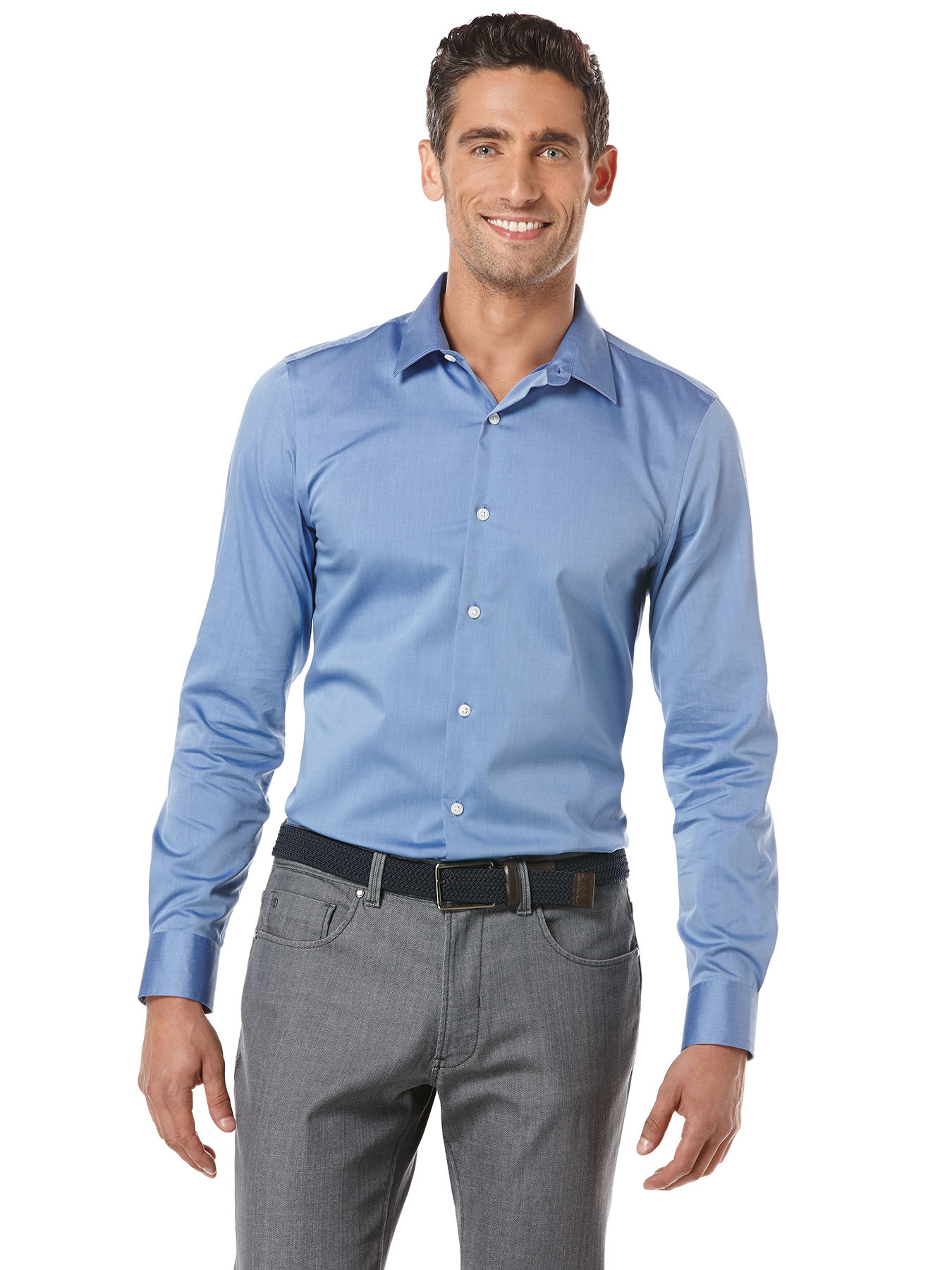 Perry Ellis Non-iron Slim Fit Essential Shirt In Blue For