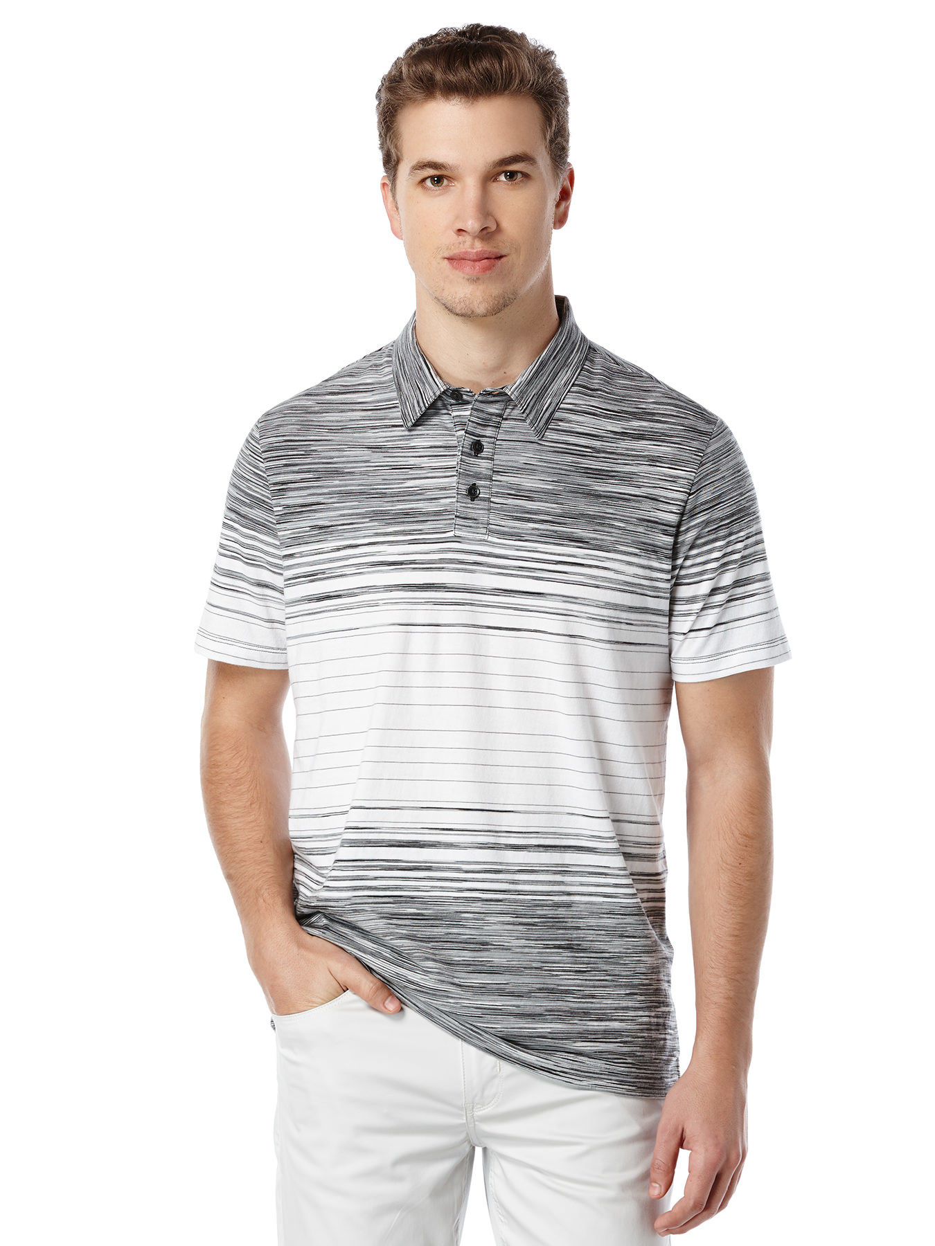 Perry Ellis Short Sleeve Space Dyed Polo In White For Men