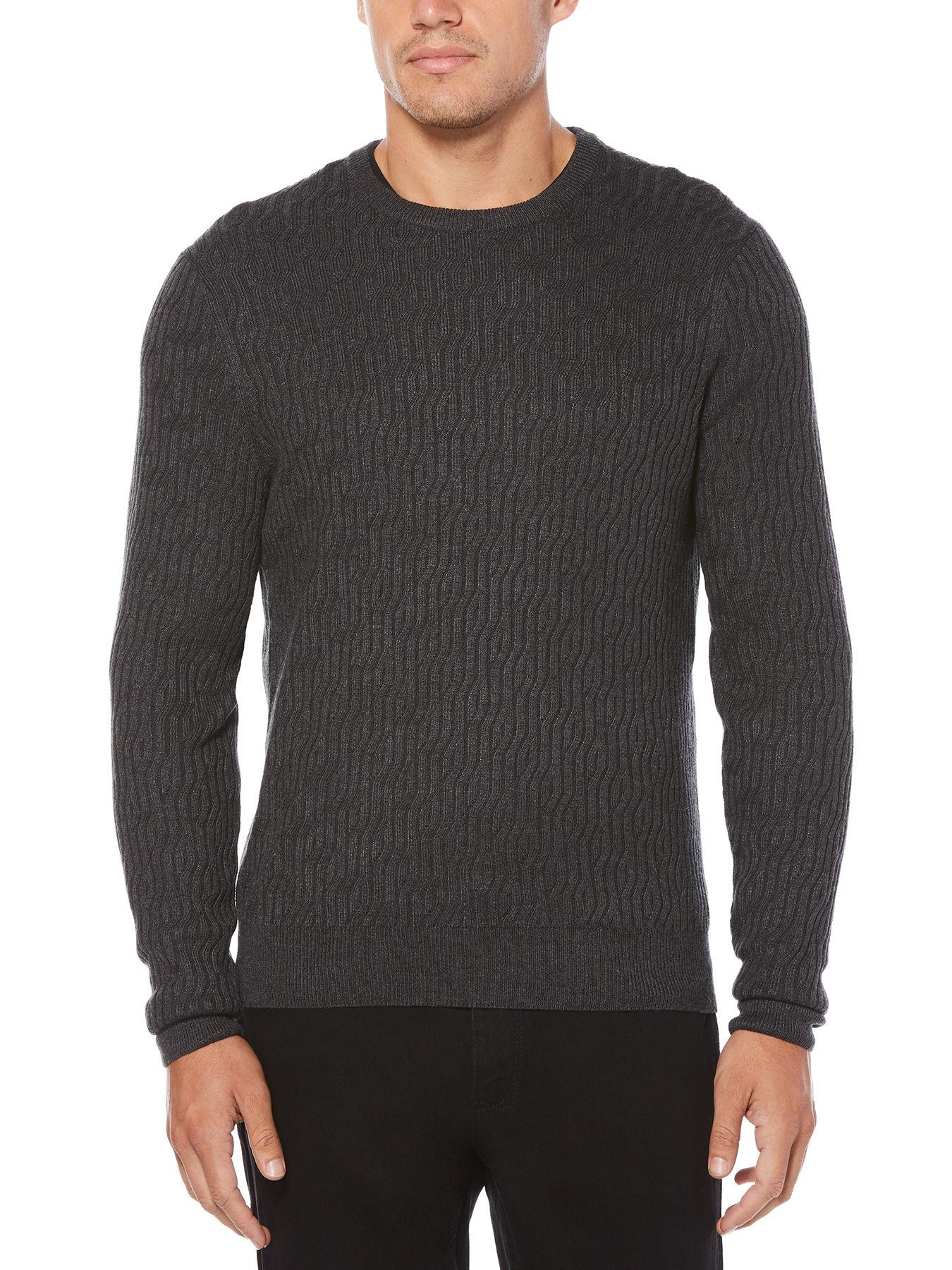 24f8ccce0 Lyst - Perry Ellis Solid Cable Sweater in Gray for Men - Save 20%