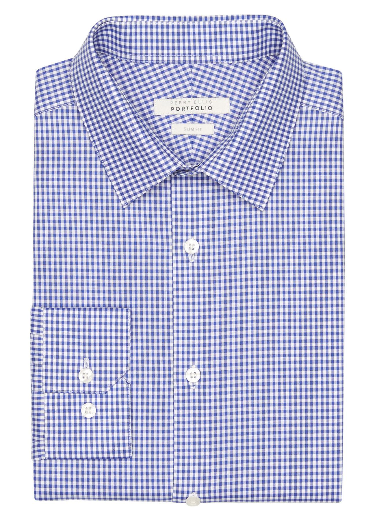 731b7759cc79 Lyst - Perry Ellis Slim Fit Coastal Gingham Dress Shirt in Blue for Men