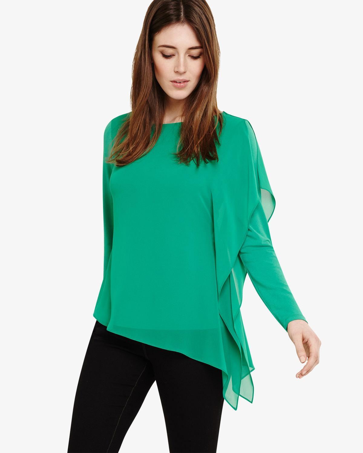 867a42b6 Phase Eight Camille Chiffon Layer Top in Green - Save 38% - Lyst