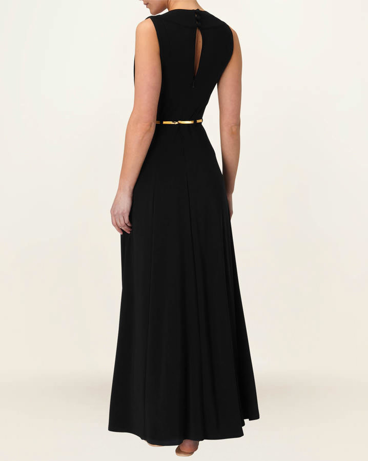 Phase eight wynn gold belted dress black