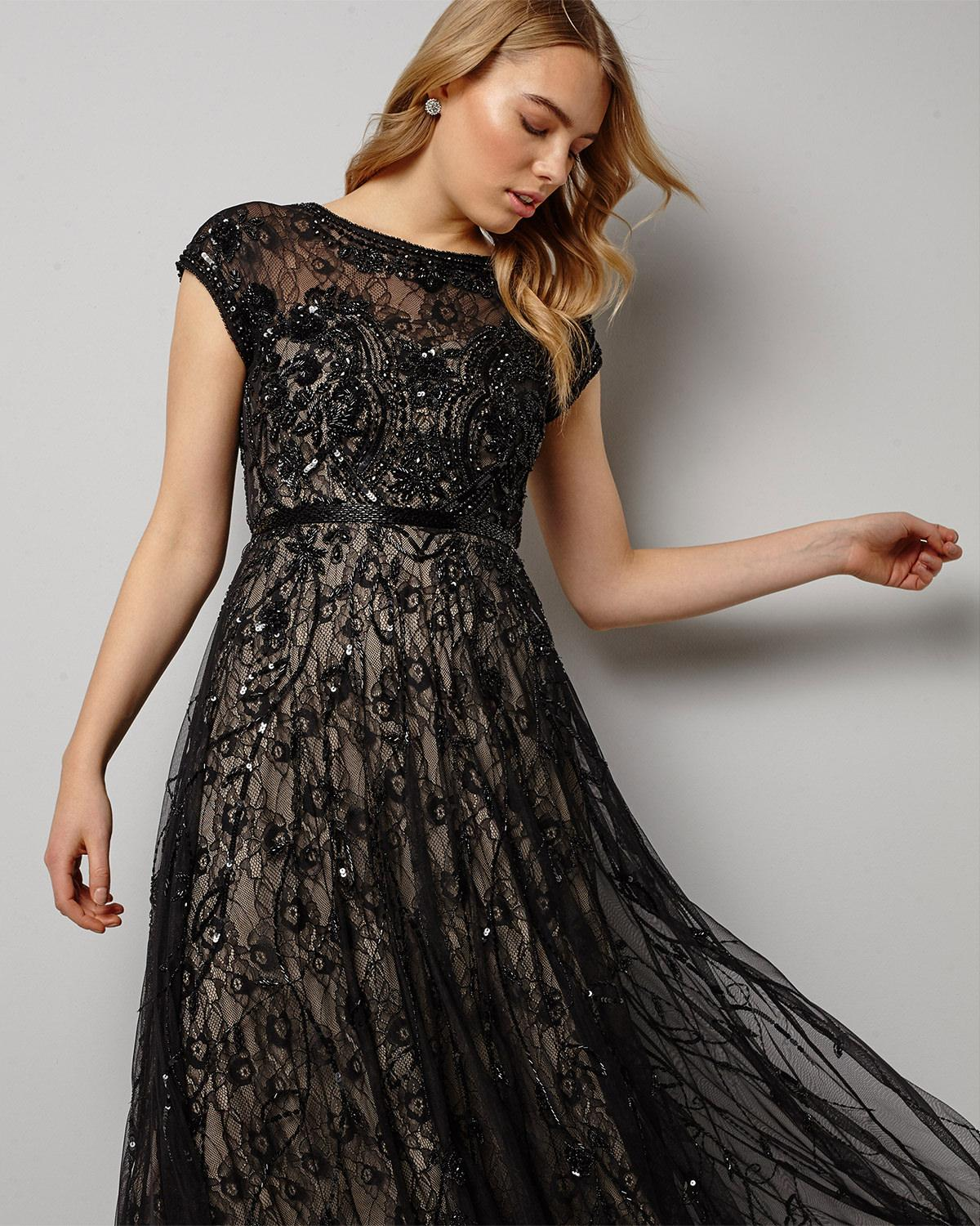 0d451d7e9cd Phase Eight Schubert Lace Beaded Maxi Dress in Black - Lyst