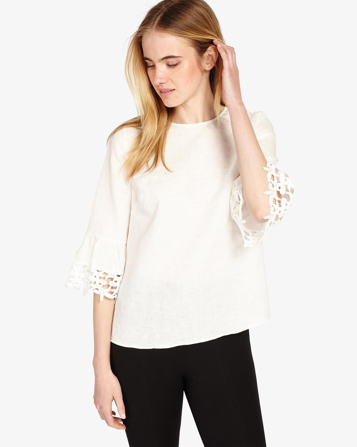 99760e8adfaaf6 Phase Eight Tabbie Lace Cuff Blouse in White - Lyst