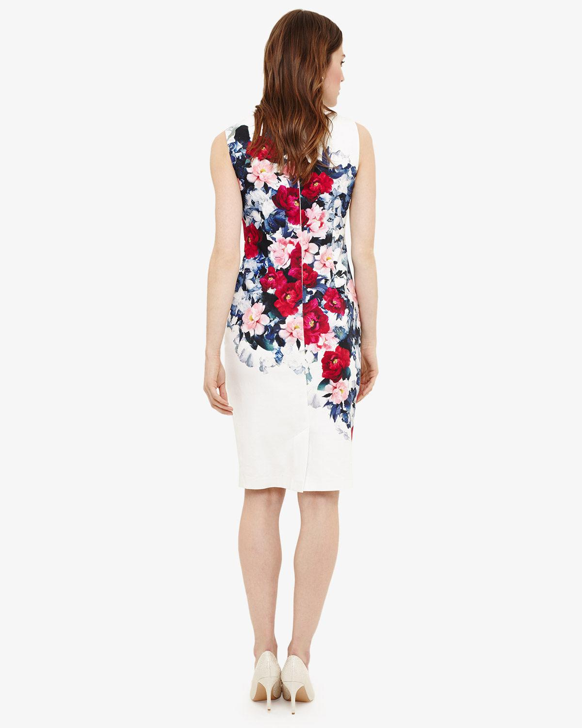 Lyst - Phase Eight Cassia Floral Printed Dress in White 854fd3c66