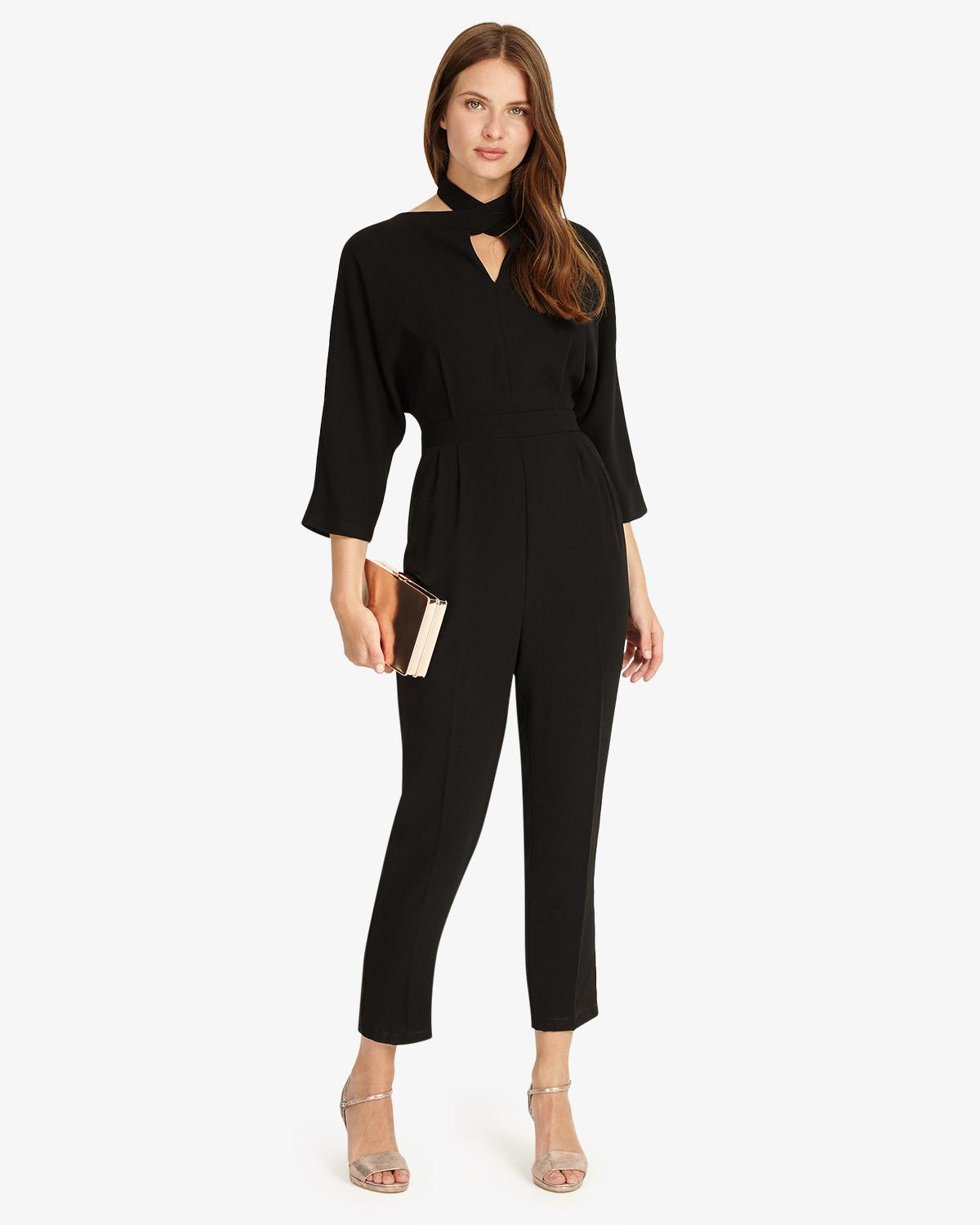 8efa6dc8960 Phase Eight Black Tia 3 4 Sleeves Jumpsuit in Black - Save 28% - Lyst