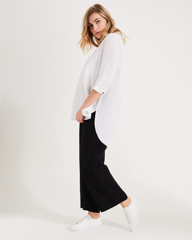 d4a44f05 Lyst - Phase Eight Haze Linen Longline Shirt in White