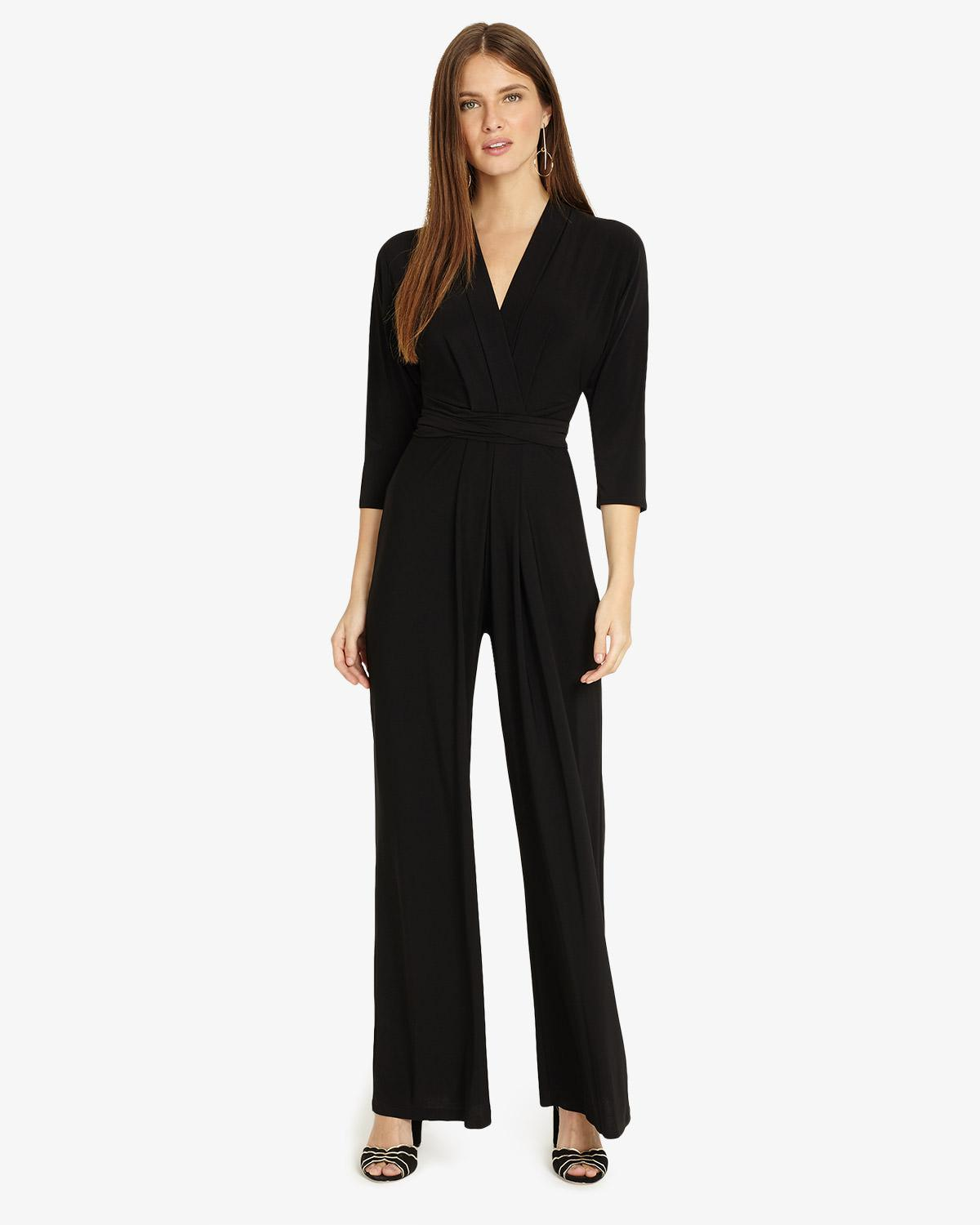 44c0bd5928c Phase Eight Tia 3 4 Sleeve Jumpsuit in Black - Lyst