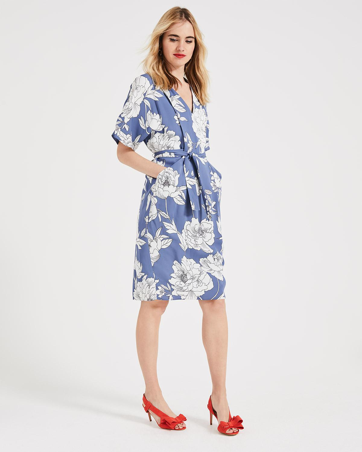 e7f59619cee Phase Eight Airforce And Ivory Malika Floral Print Dress in Blue - Lyst