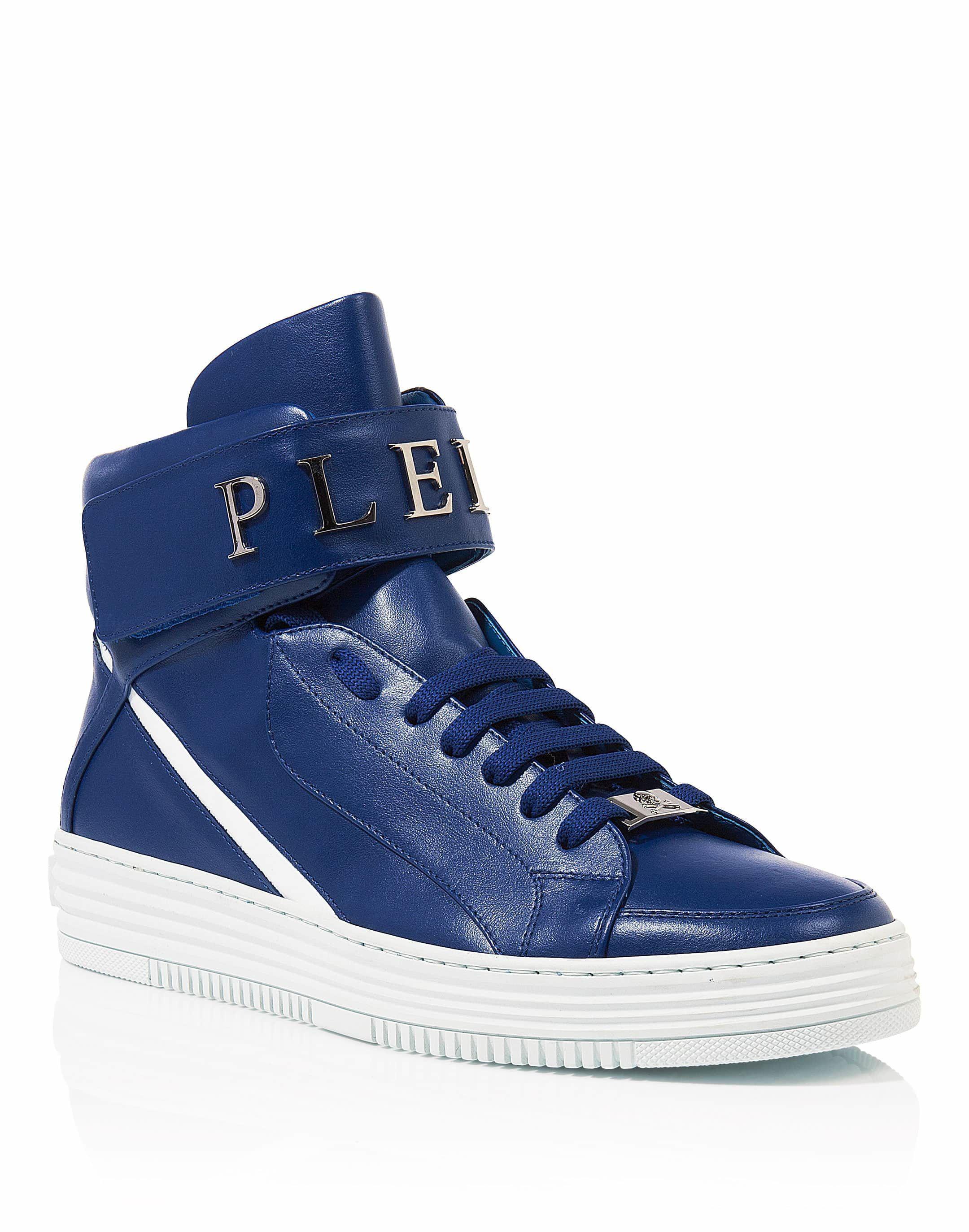 Philipp Plein. Men's Blue Hi-top Sneakers