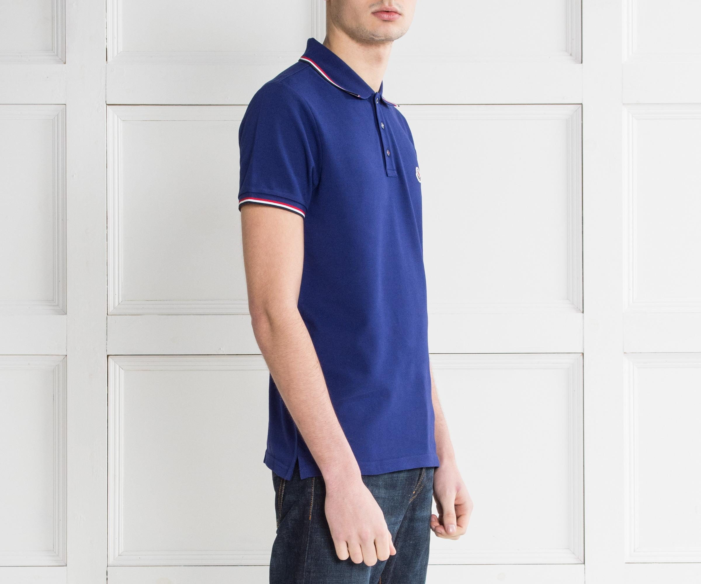 moncler royal blue polo shirt