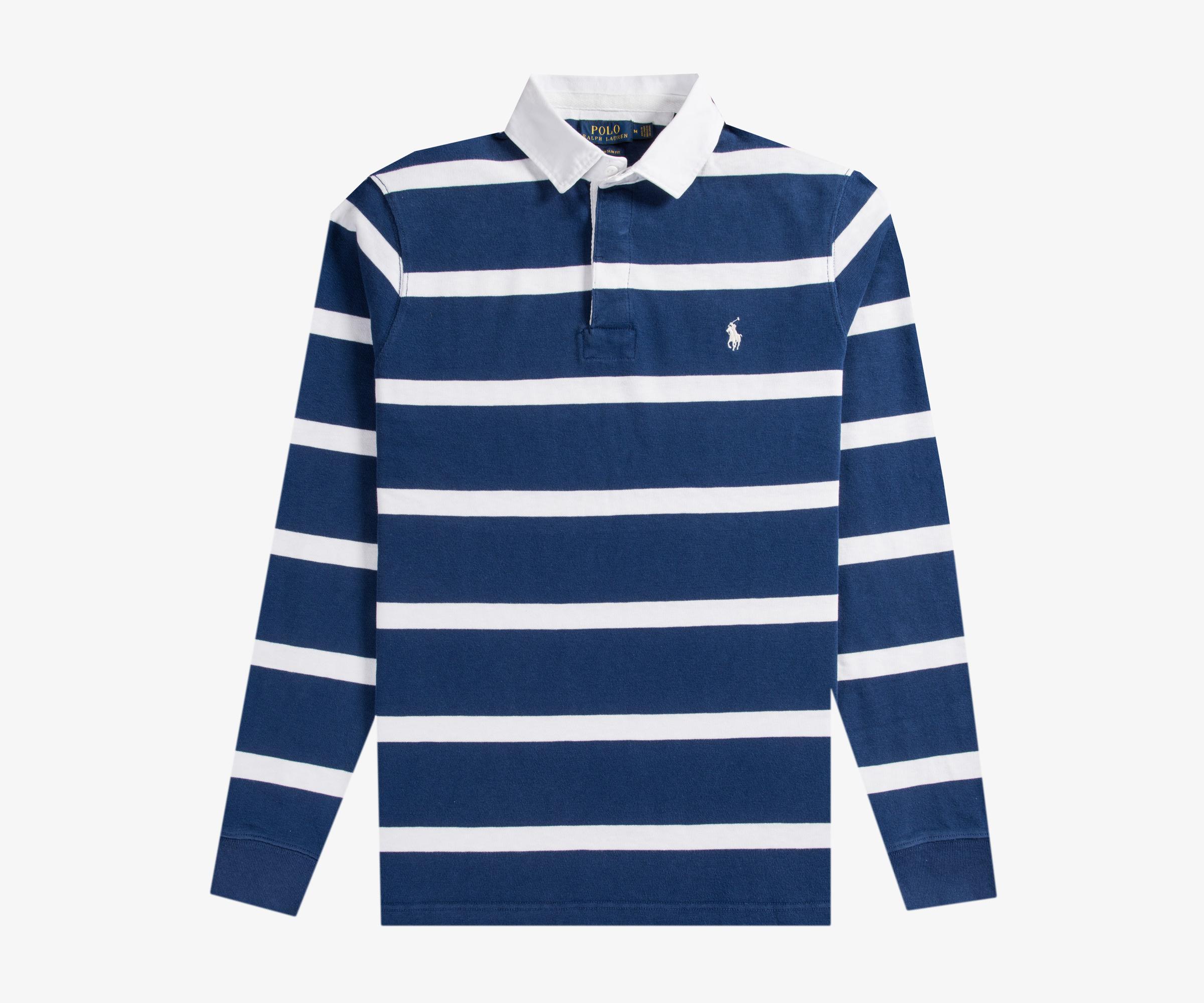 6537ea345 ... low cost lyst polo ralph lauren bar stripe rugby shirt navy white in  blue aea3a 5e1ec