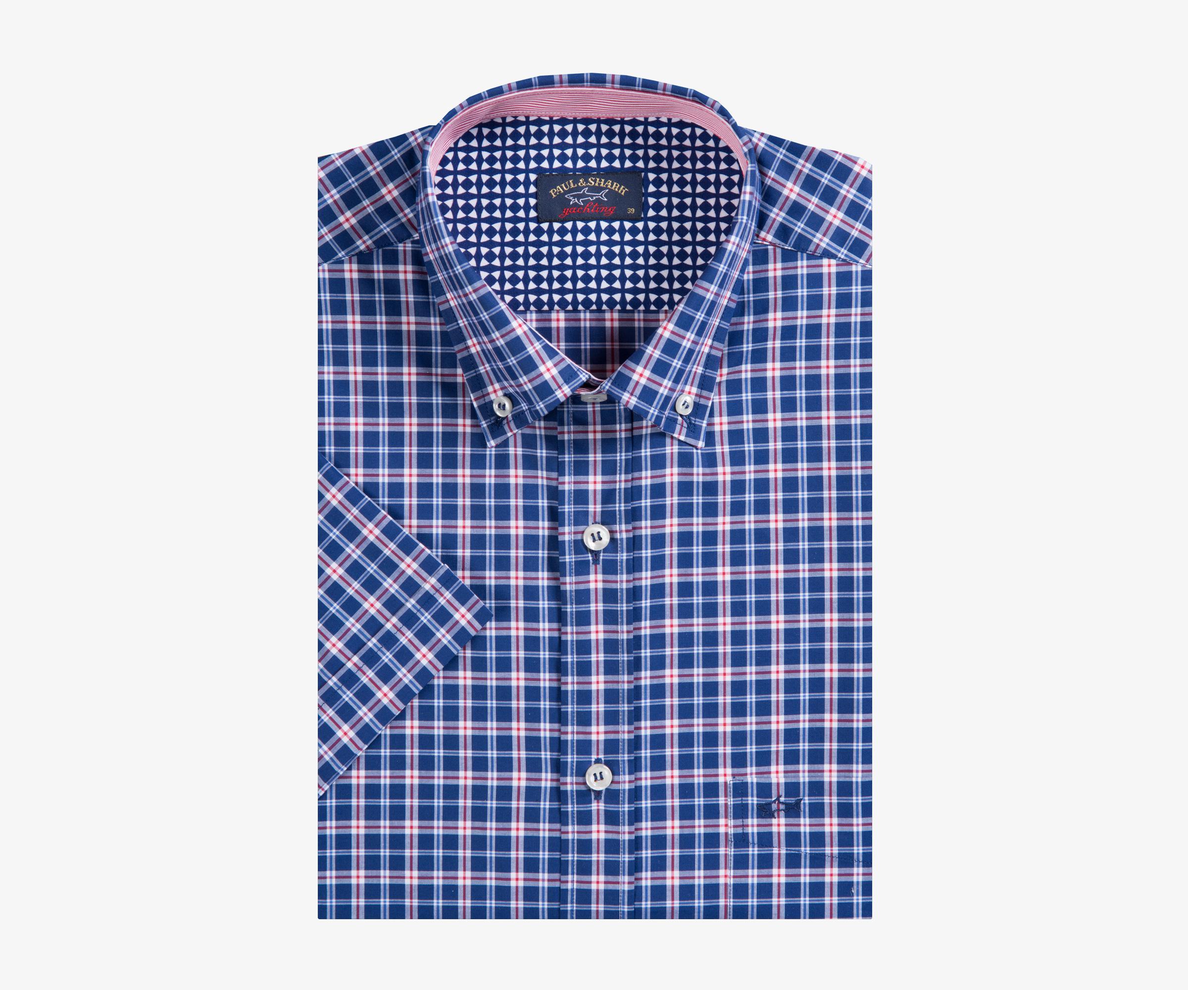 Paul & Shark Short Sleeve Check Shirt Blue Mens