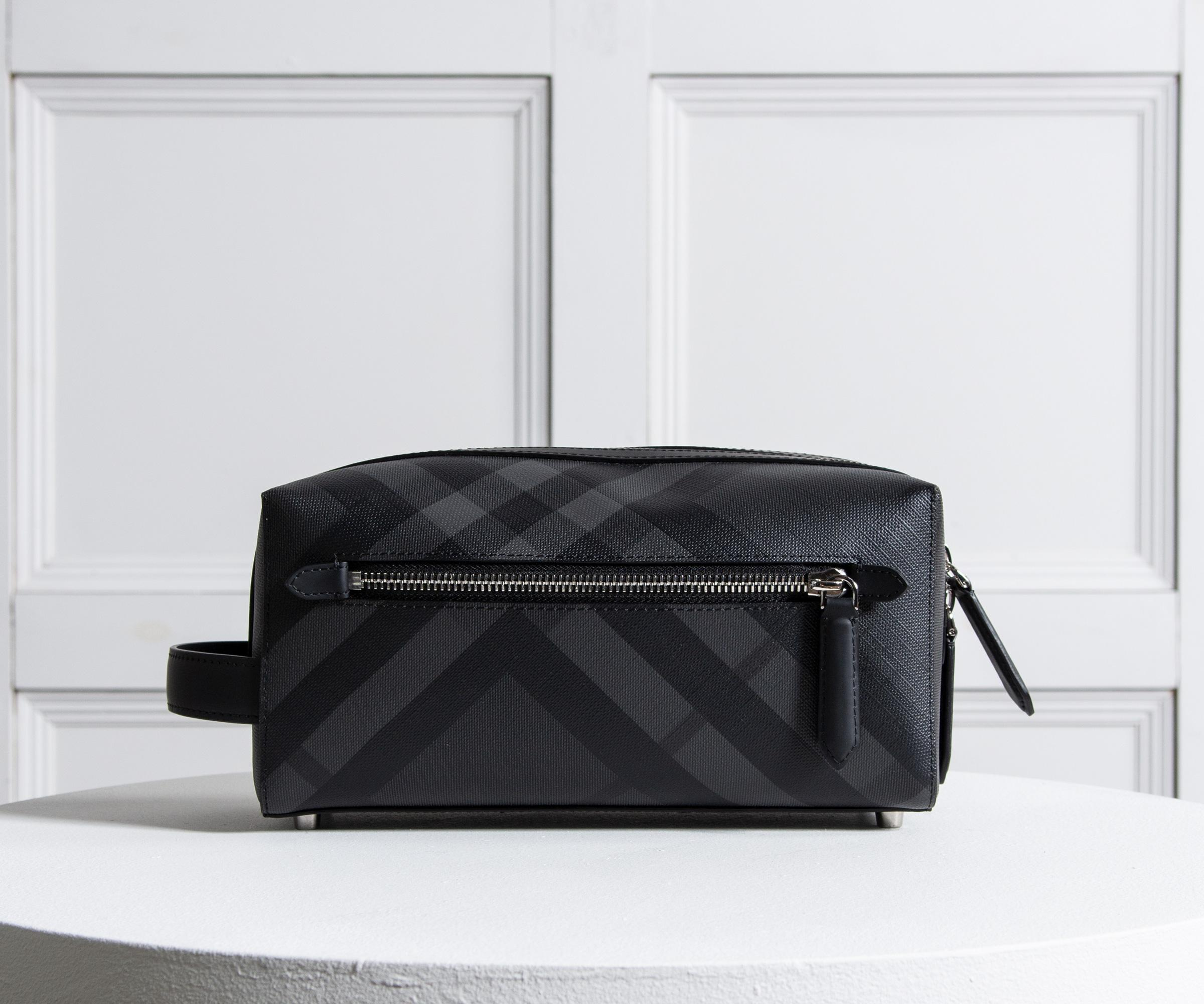 98fc9e12fede Lyst Burberry Print London Check Leather Washbag Charcoal In